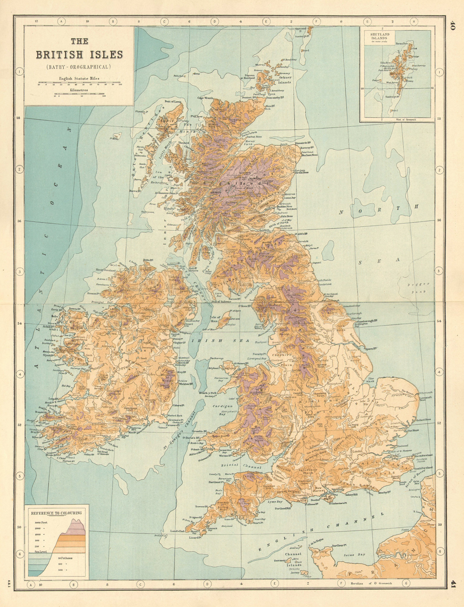 Associate Product BRITISH ISLES. Relief. Ocean depths. Mountain heights. UK. HARMSWORTH 1920 map