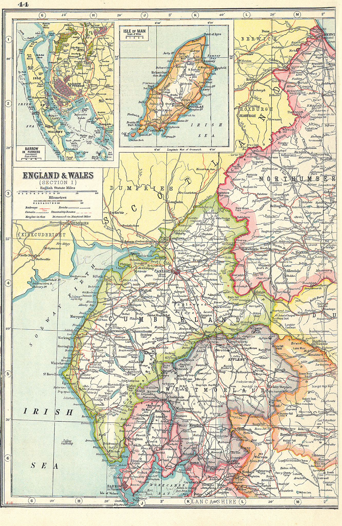 Associate Product ENGLAND NW. Cumbria Westmorland. Inset Barrow in Furness;Isle of Man 1920 map