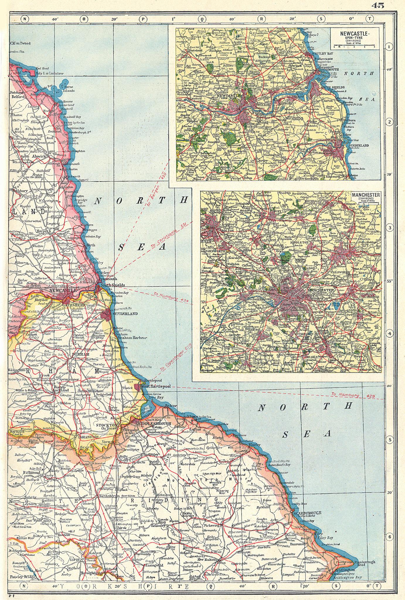 Associate Product NORTH EAST ENGLAND COAST. Durham Yorks Northumbs Newcastle-upon-Tyne 1920 map