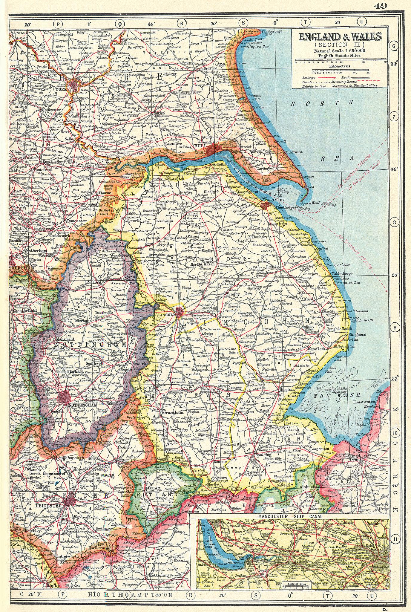 Associate Product EAST MIDLANDS.Lincolnshire Nottinghamshire Rutland.Manch'r Ship Canal 1920 map