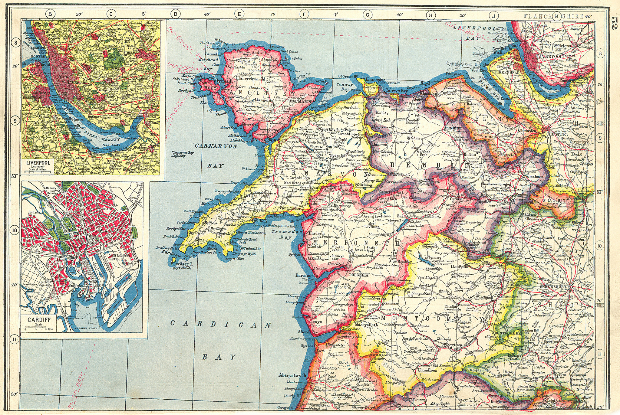 Associate Product N WALES. Carnarvon Merioneth Denbigh Anglesey Flint; Liverpool;Cardiff 1920 map