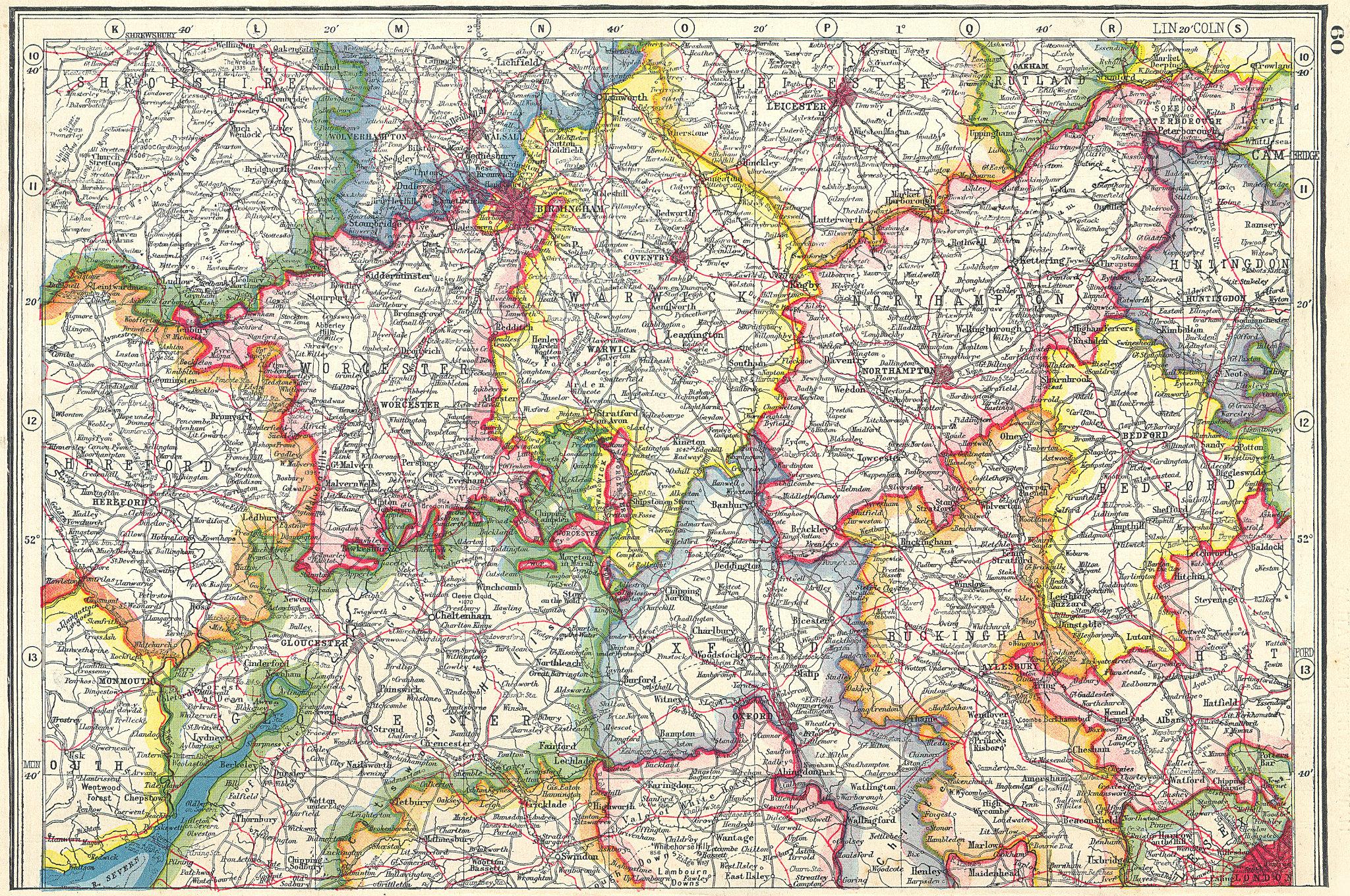 Associate Product MIDLANDS. Worcestershire Warwickshire Northamptonshire Bedfordshire 1920 map
