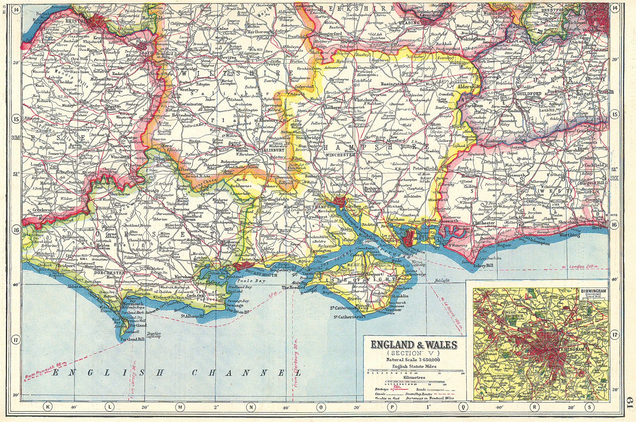 Associate Product ENGLAND SOUTH. hampshire Isle of Wight Dorset Sussex; Inset Birmingham 1920 map