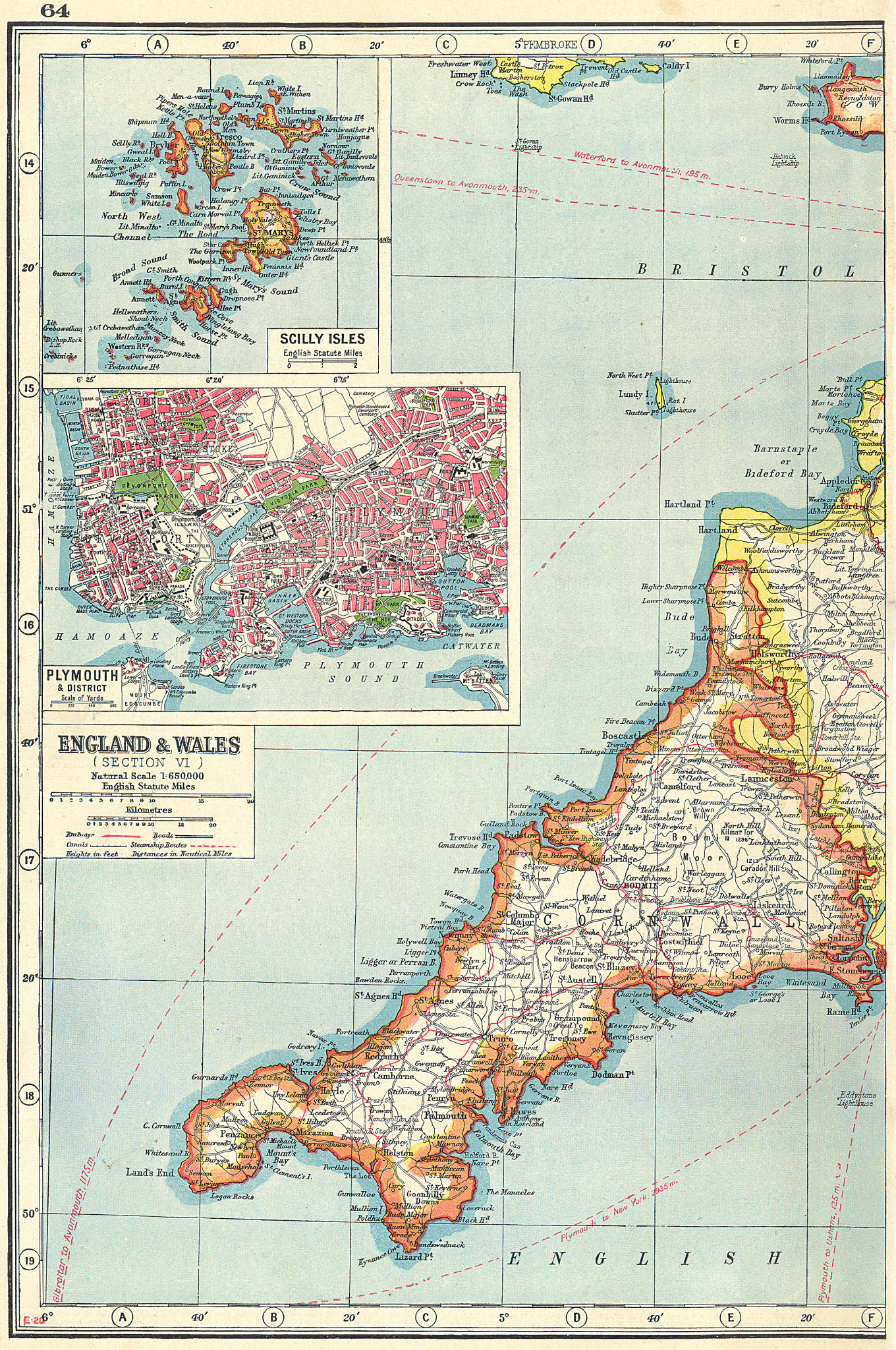 Associate Product CORNWALL. inset Scilly Isles & plan of Plymouth & Devonport 1920 old map