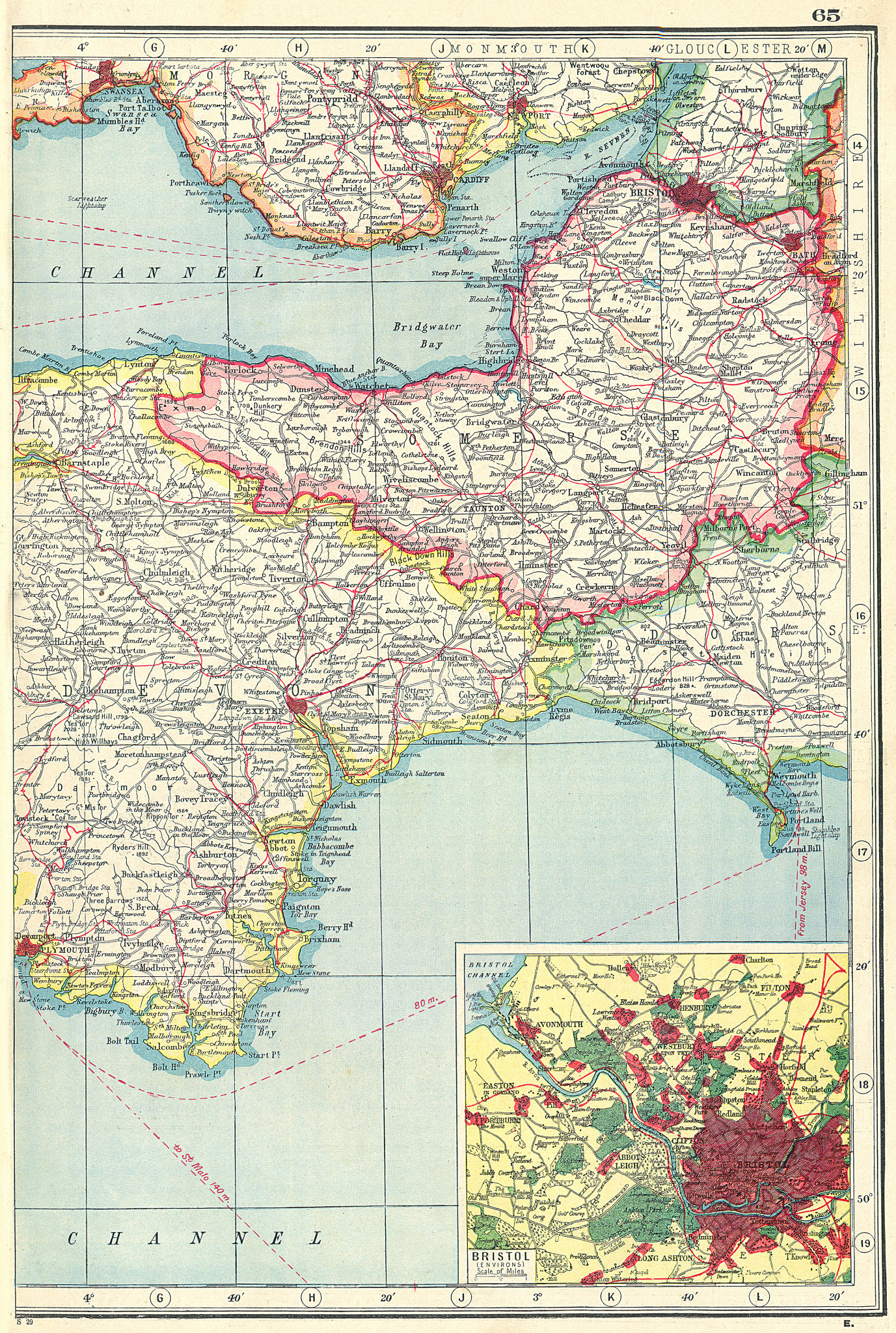 Associate Product SOUTH WEST ENGLAND. Somerset & part of Devon. Inset Bristol environs 1920 map