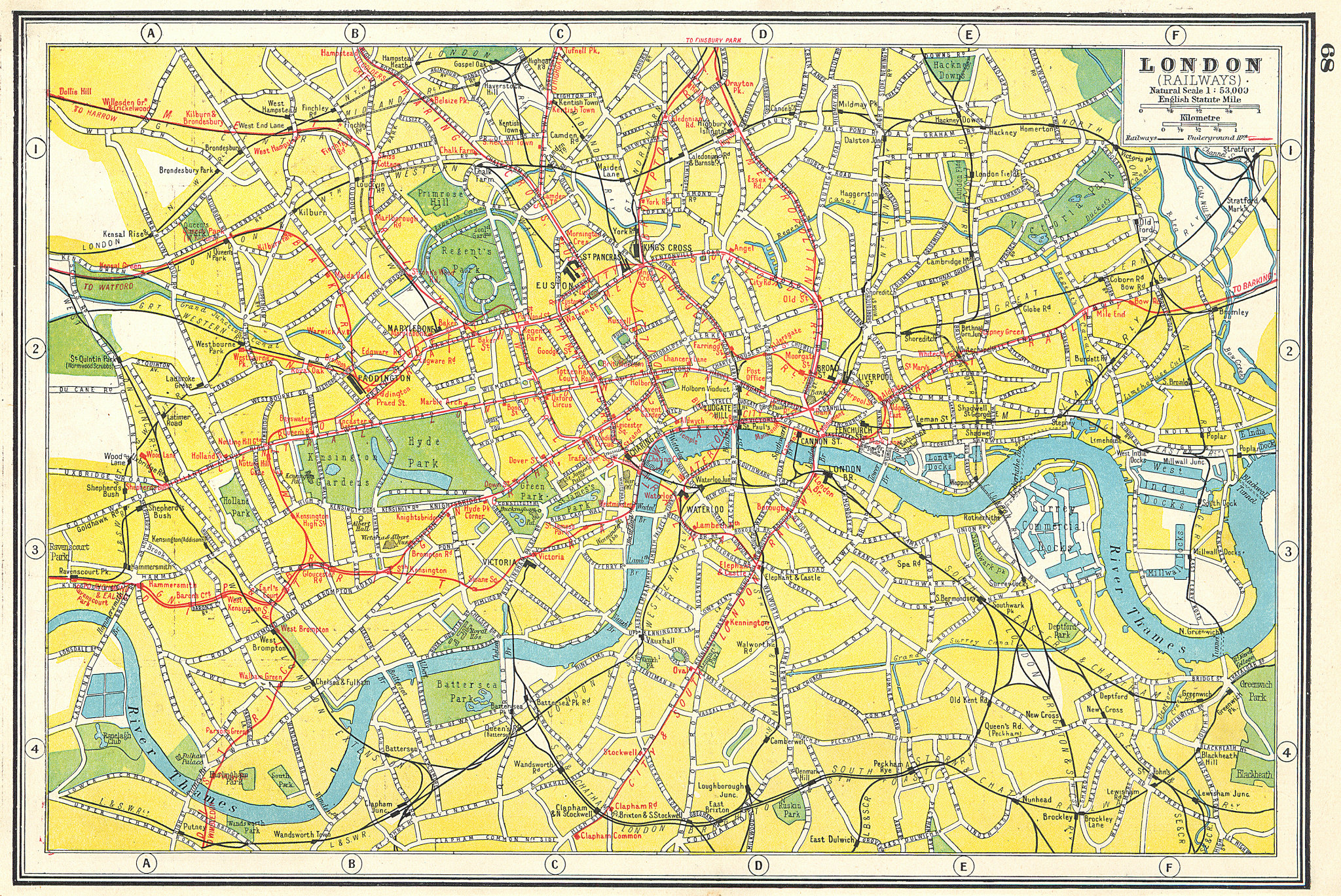 Associate Product LONDON. Showing railways and underground tube lines. HARMSWORTH 1920 old map