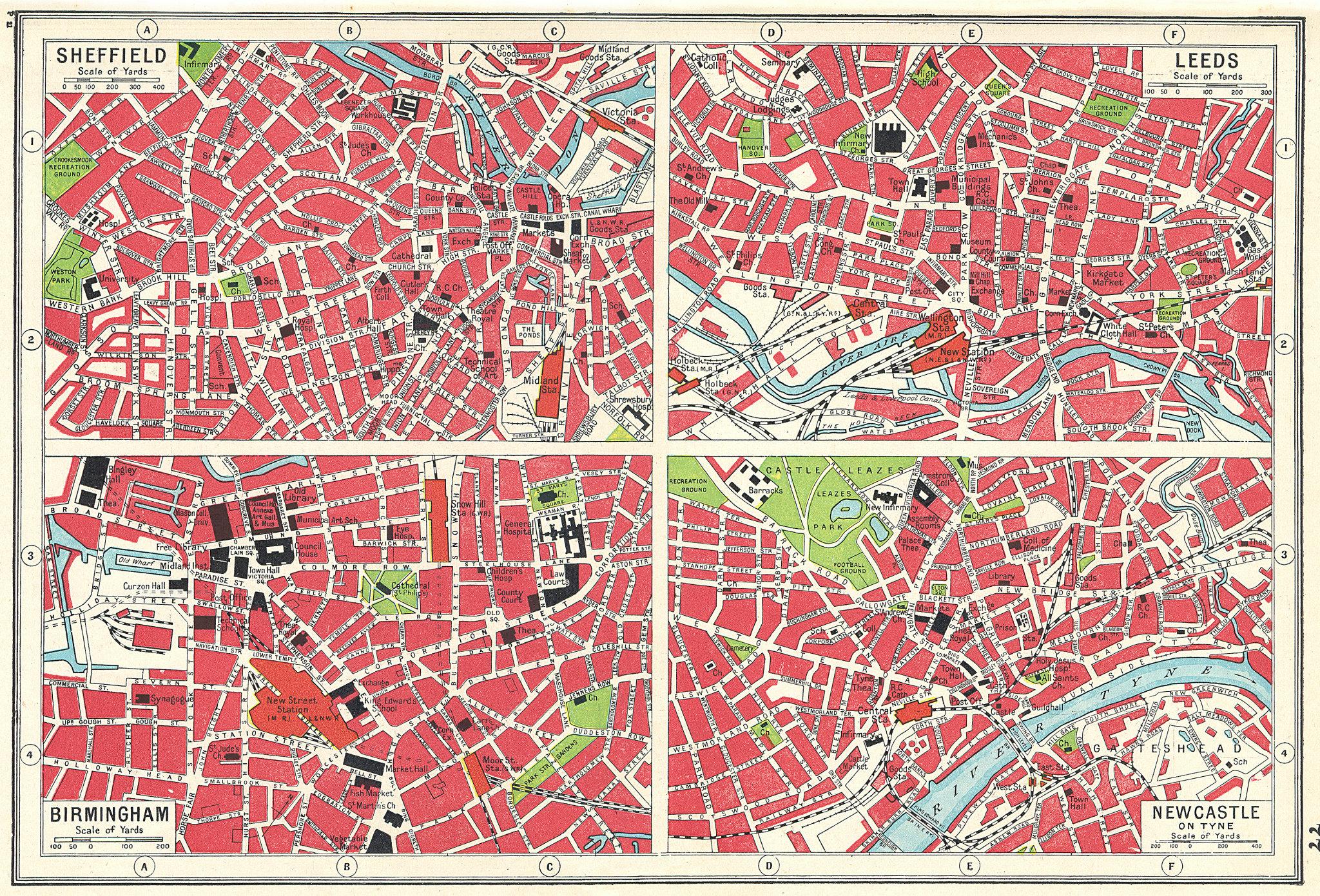 Associate Product ENGLAND. Sheffield Birmingham Leeds Newcastle town plans. HARMSWORTH 1920 map
