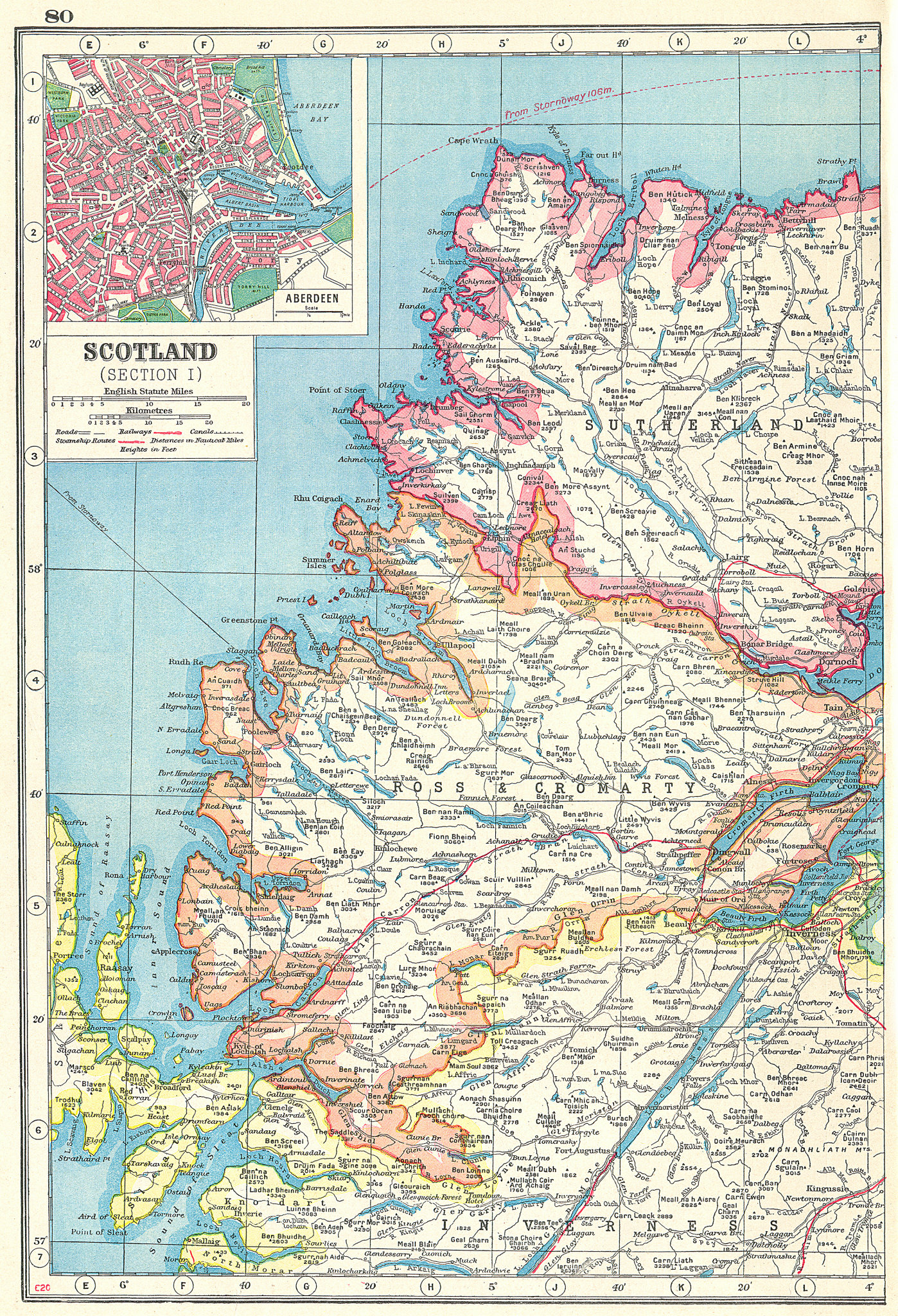 Associate Product SCOTTISH HIGHLANDS.Sutherland Ross & Cromarty Inverness-shire.Aberdeen 1920 map