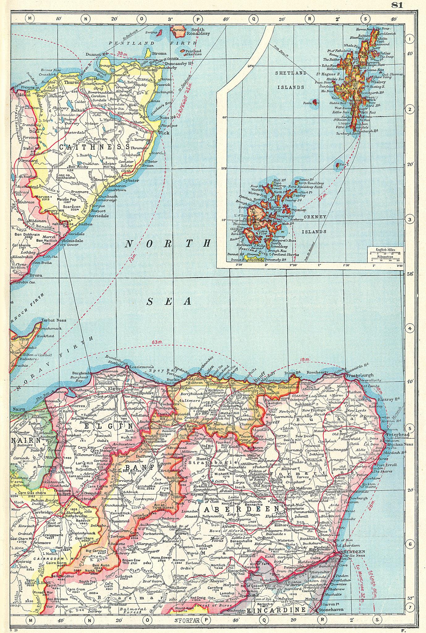 Associate Product SCOTLAND NE. Caithness Aberdeen Banff Elgin. Orkney & Shetland Islands 1920 map