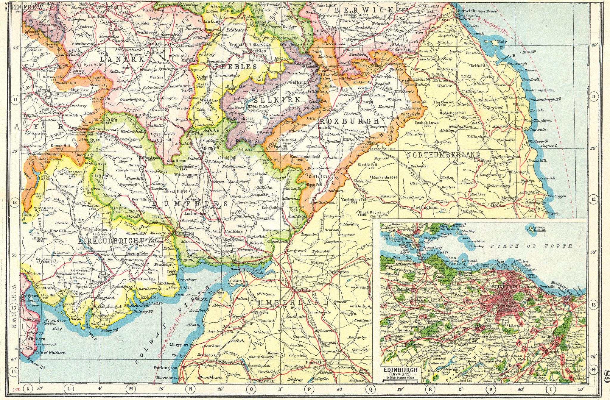 Associate Product SCOTLAND. Borders. Dumfries Roxburgh Selkirk Peebles;Inset Edinburgh 1920 map