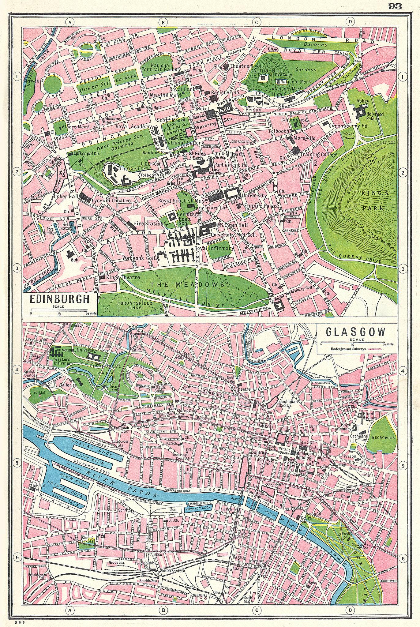 Associate Product SCOTLAND. Edinburgh Glasgow town plans. HARMSWORTH 1920 old antique map chart