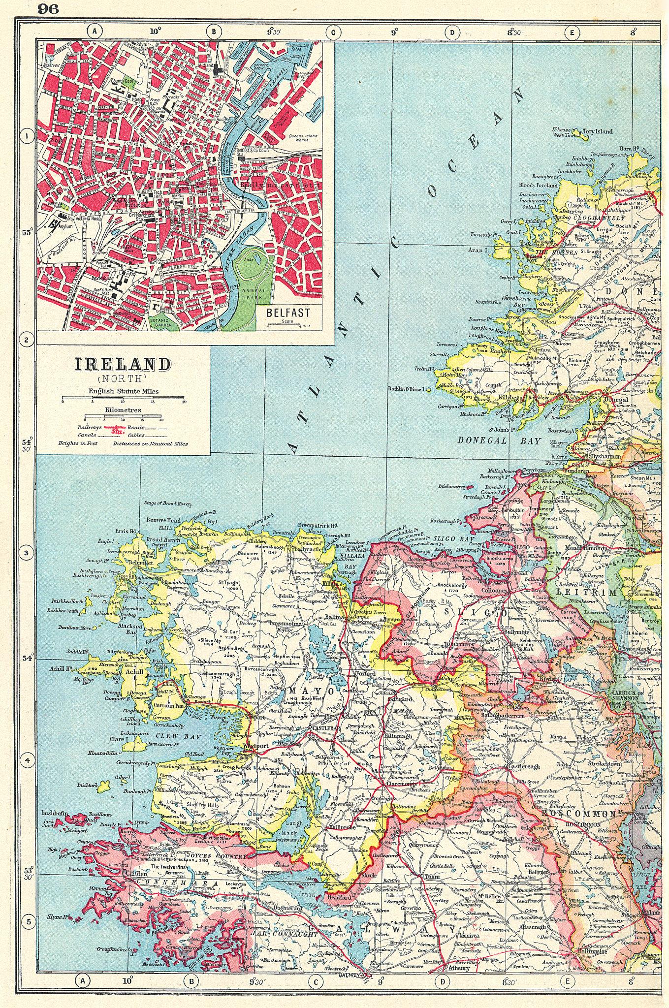 Associate Product IRELAND NW COAST. Mayo Sligo Roscommon Leitrim.Inset Belfast.Connaught 1920 map