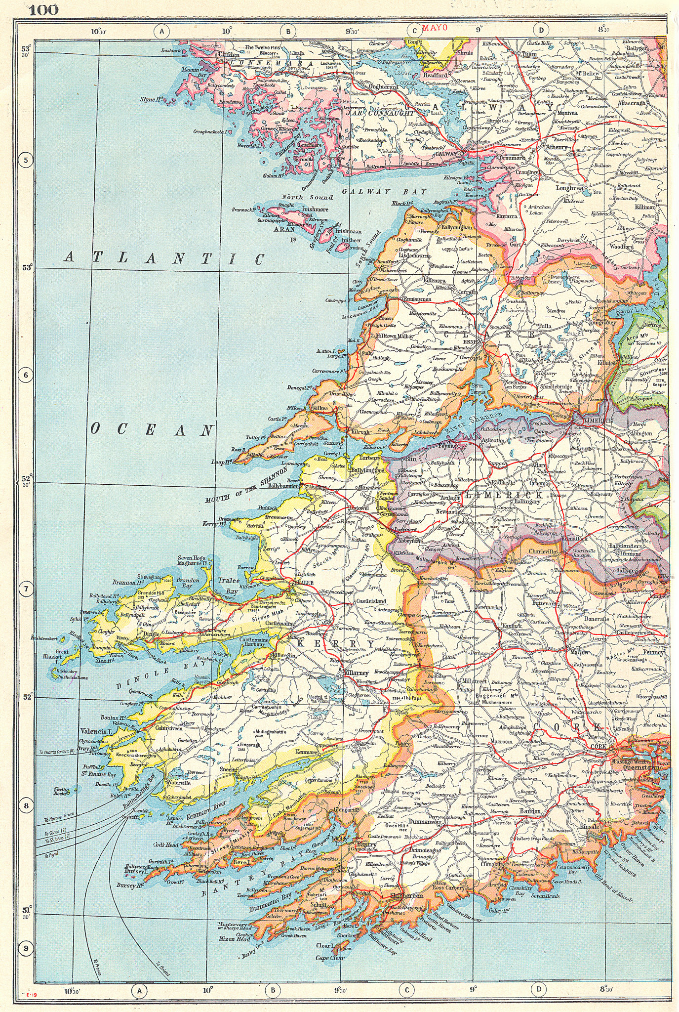 Associate Product IRELAND SOUTH WEST. Cork Kerry Limerick Clare Galway. HARMSWORTH 1920 old map