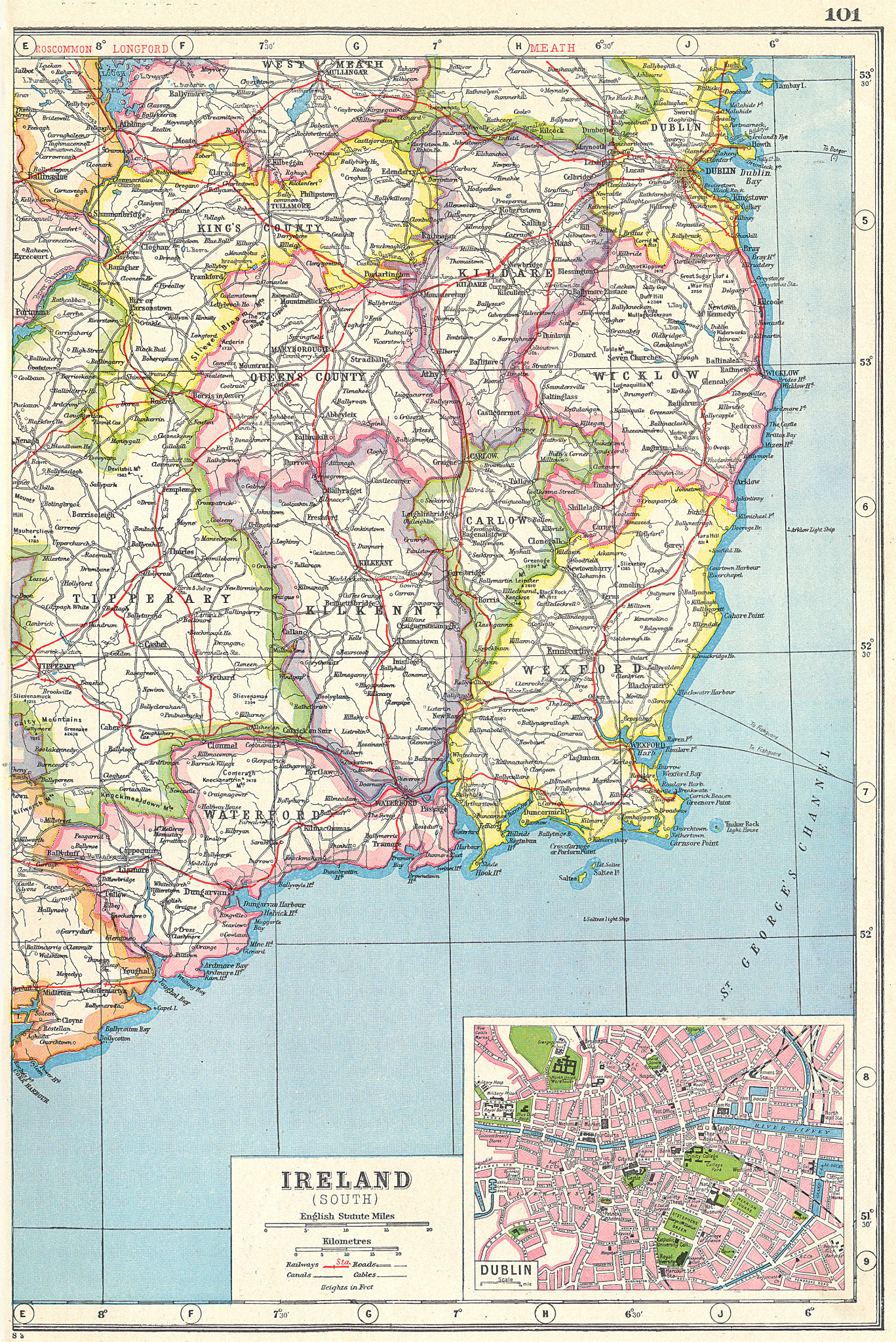 Associate Product IRELAND SOUTH EAST. Wexford Kilkenny Waterford Carlow &c. inset Dublin 1920 map