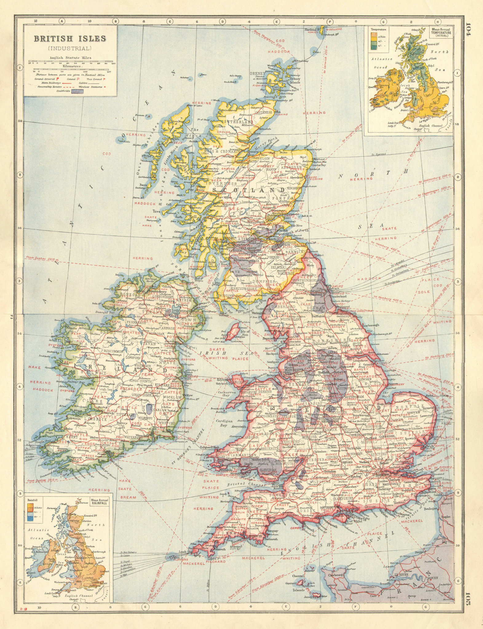 Associate Product BRITISH ISLES AGRICULTURAL/INDUSTRIAL. Showing key products coalfields 1920 map