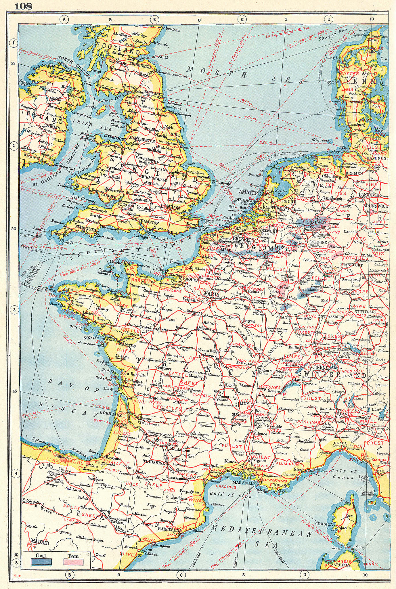 Associate Product WESTERN EUROPE AGRICULTURAL & INDUSTRIAL PRODUCTS. France UK Benelux 1920 map