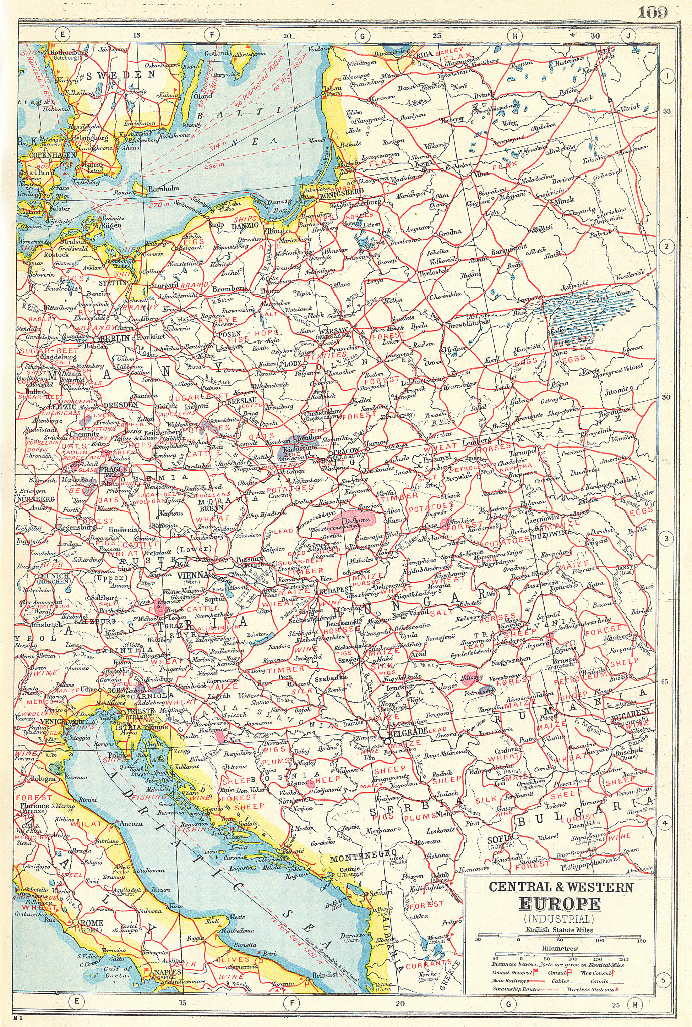 Associate Product EAST EUROPE AGRICULTURAL/INDUSTRIAL.Products.Austria Hungary Germany 1920 map