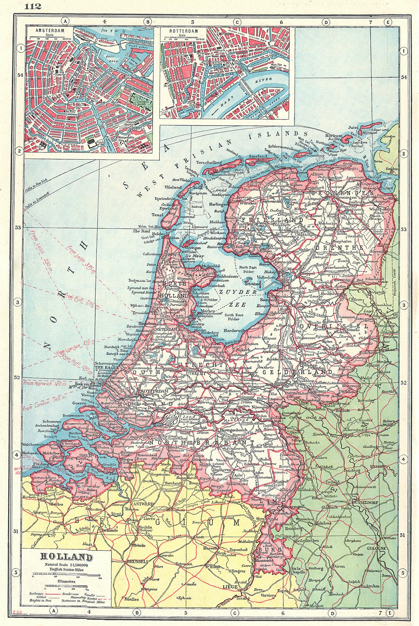 Associate Product NETHERLANDS. Holland.Railways canals.Inset Amsterdam & Rotterdam plans 1920 map