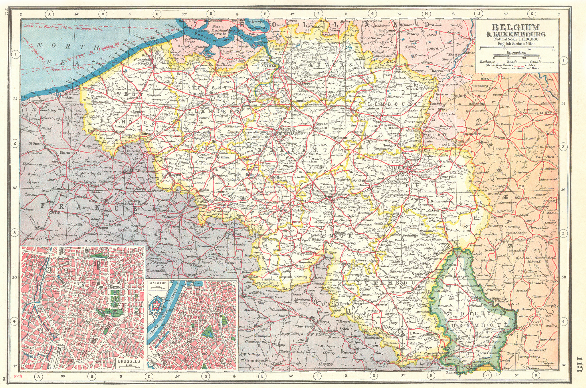 Associate Product BELGIUM & LUXEMBOURG. Railways canals. Inset Brussels & Antwerp plans 1920 map