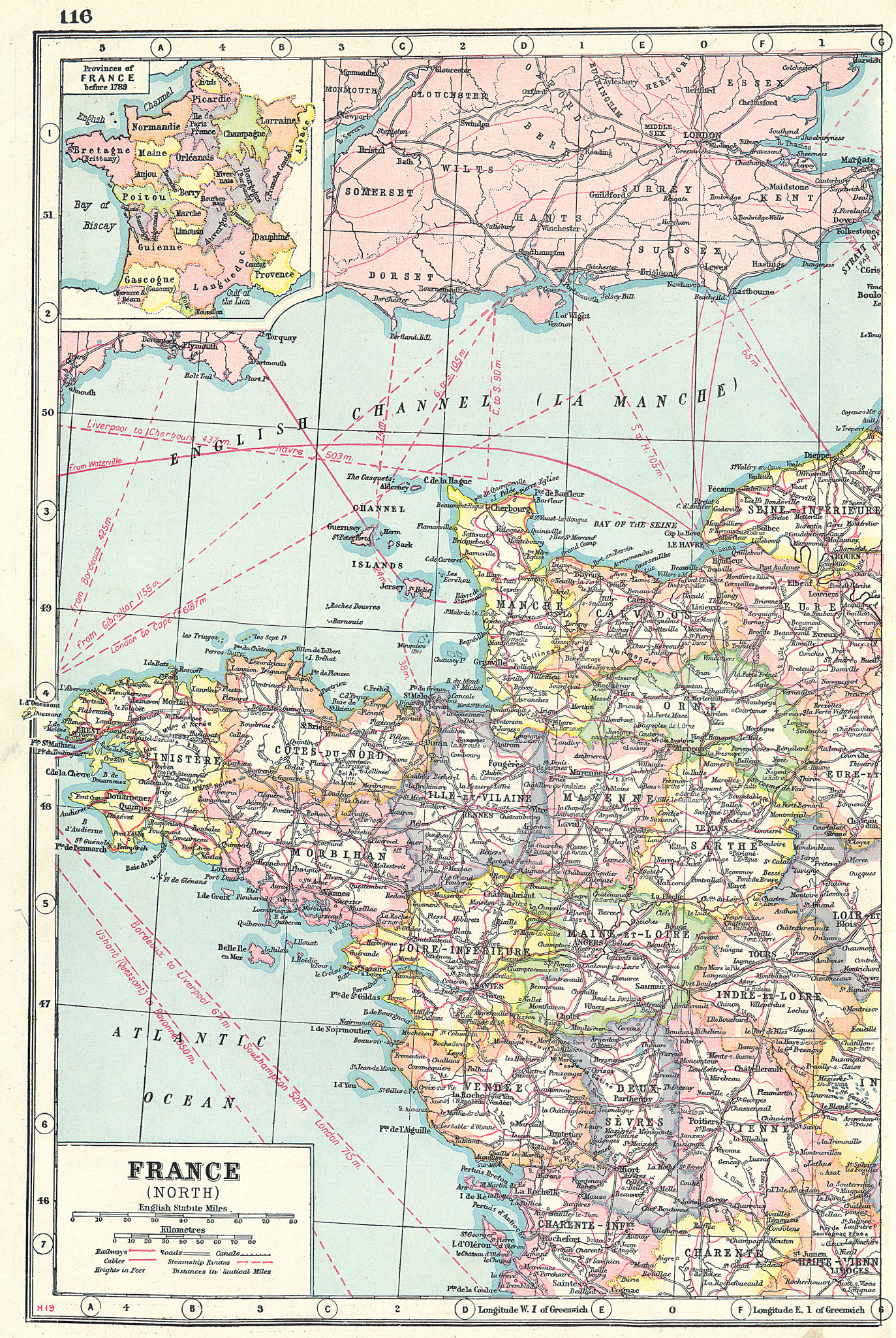 Associate Product FRANCE NORTH WEST. showing departements. Inset <1789 Provinces 1920 old map