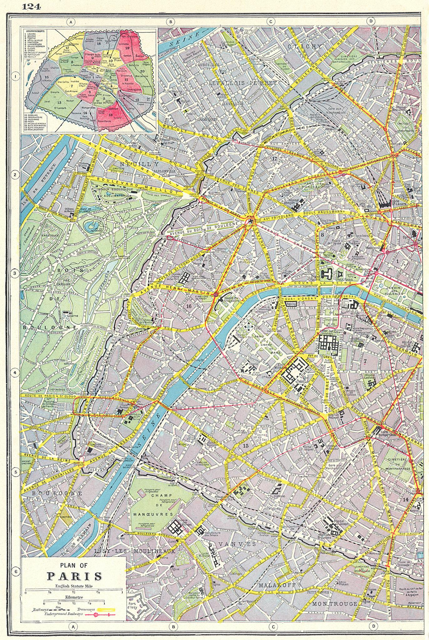 Associate Product PARIS WEST. Plan of Paris west sheet; inset Arrondissements 1920 old map