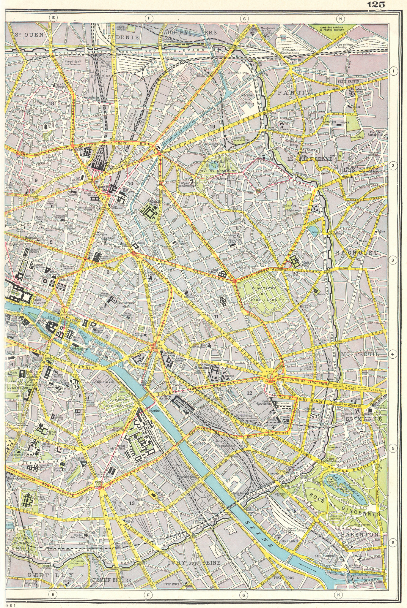 Associate Product PARIS EAST. Plan of Paris east sheet. HARMSWORTH 1920 old antique map chart