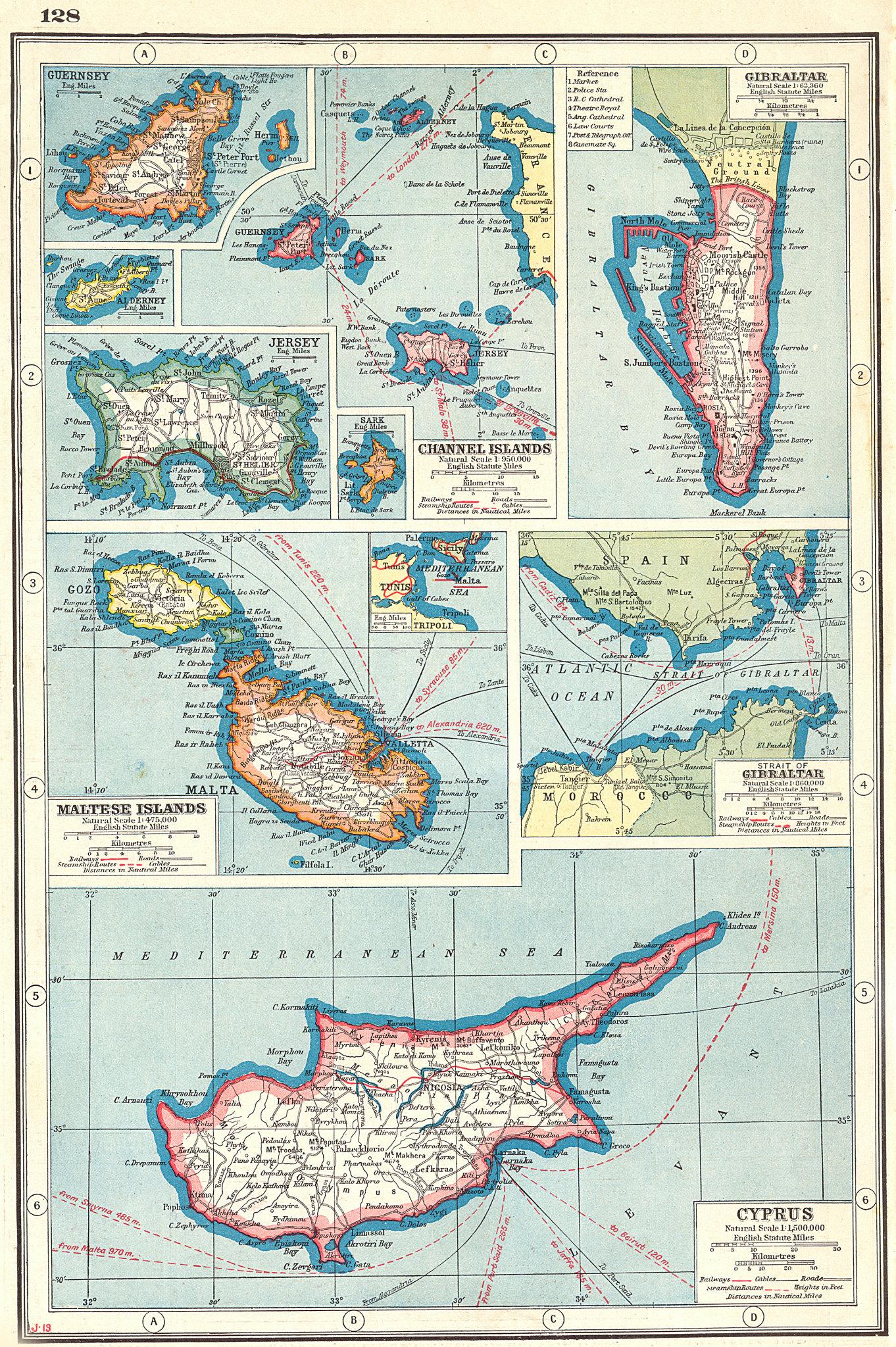 Associate Product BRITISH EUROPEAN POSSESSIONS. Malta Gibraltar Cyprus Guernsey Jersey 1920 map