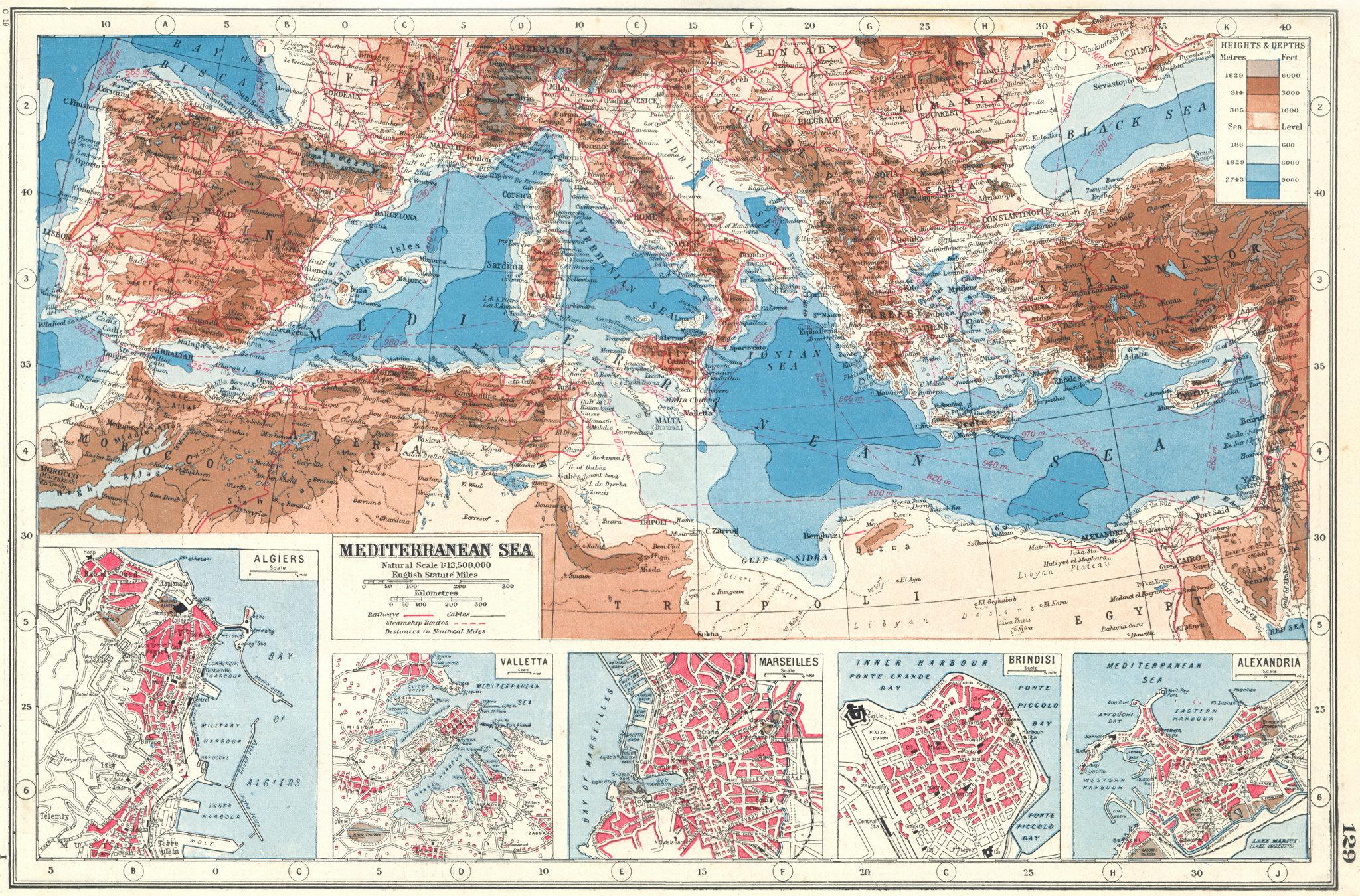Associate Product MEDITERRANEAN & PORTS.Algiers Valletta Marseilles Brindisi Alexandria 1920 map