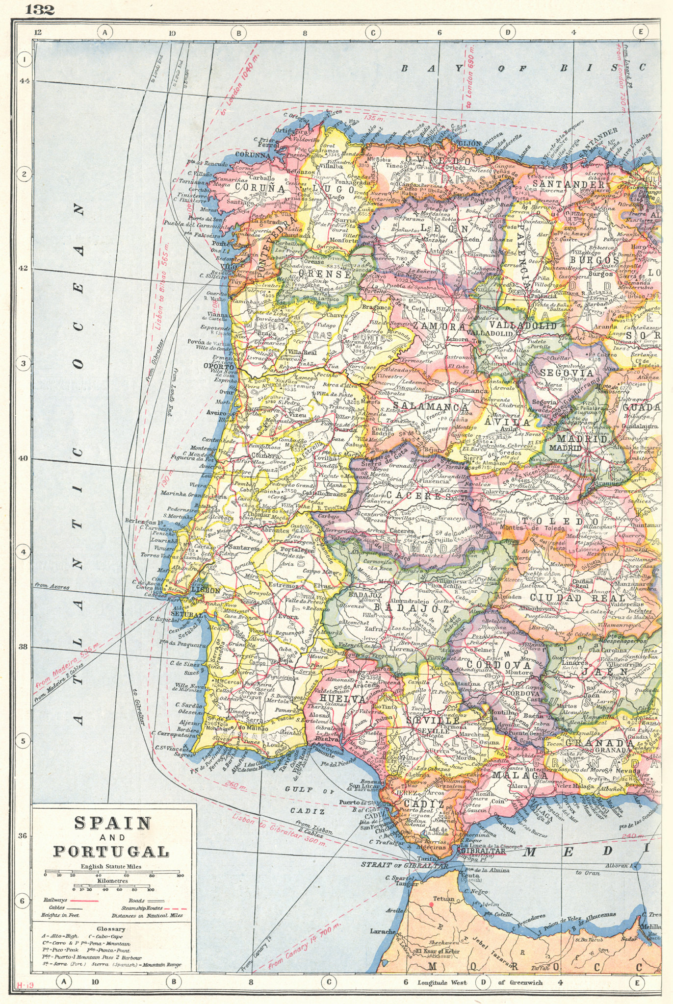 Associate Product IBERIA WEST. Spain showing provinces and Portugal. Telegraph cables 1920 map