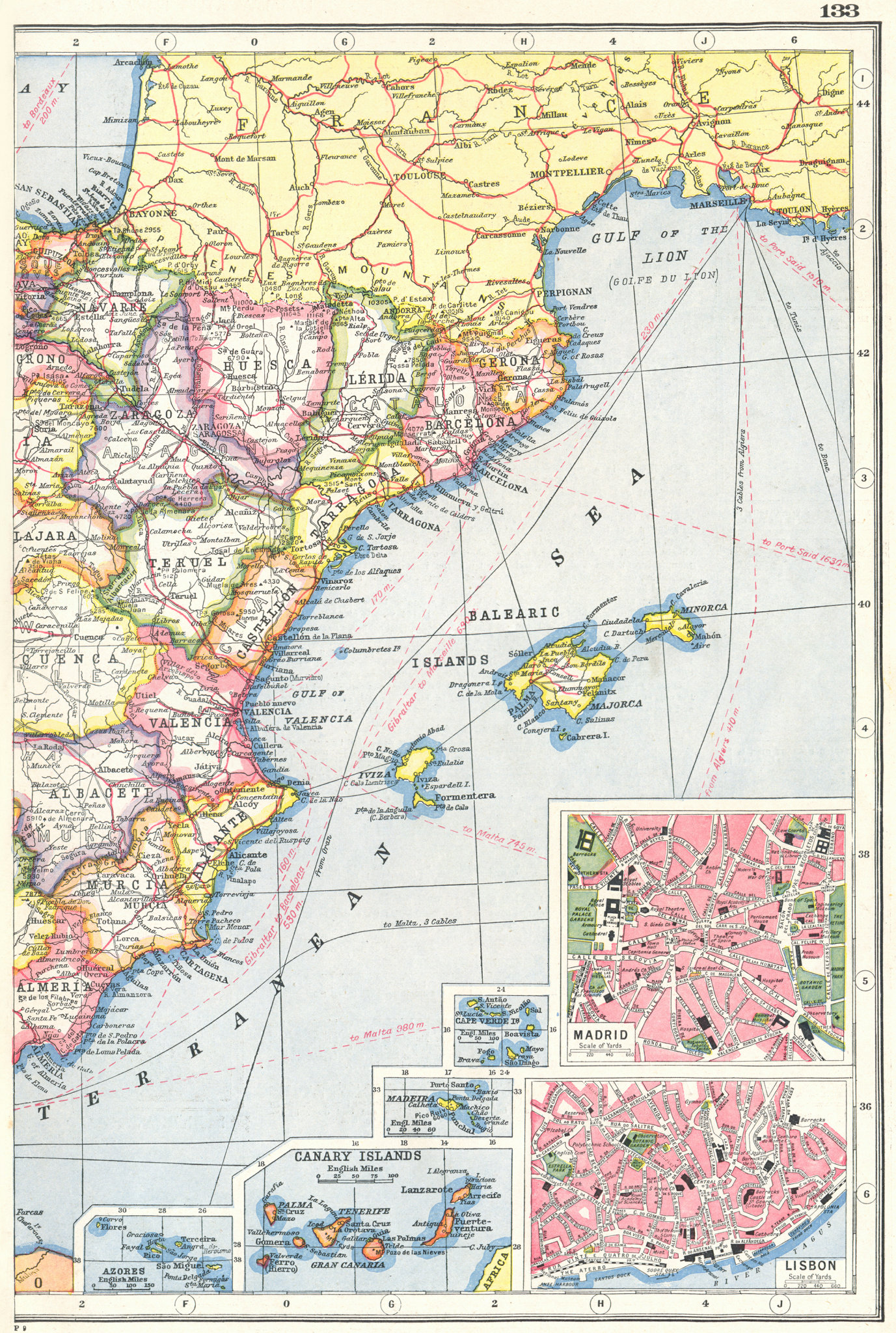 Associate Product SPAIN EAST. Inset Azores Canaries Madeira Cape Verde Madrid Lisbon 1920 map