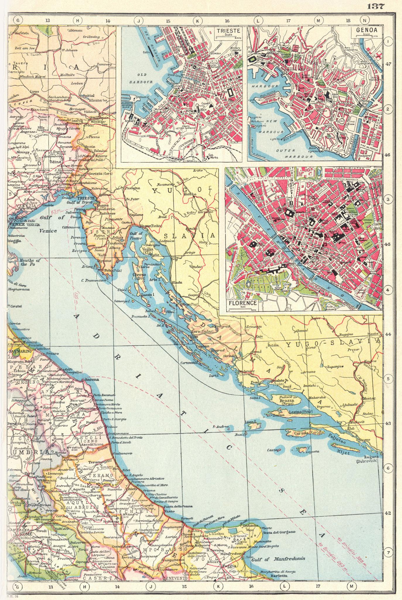 Associate Product ITALY ADRIATIC COAST. inset Trieste Genoa & Florence plans. Telegraphs 1920 map