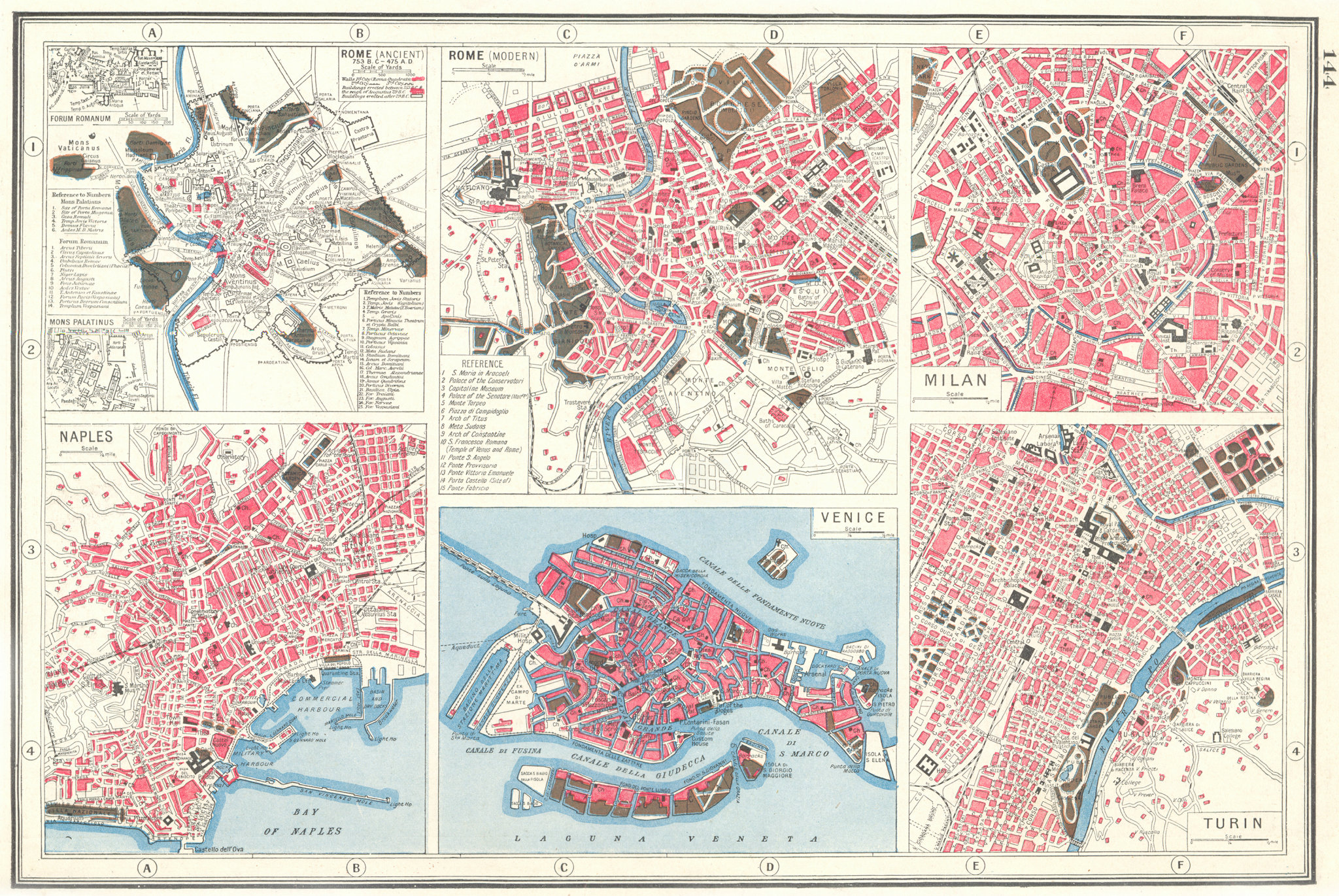 Associate Product ITALY CITIES. Rome Ancient & Modern Naples Milan Venice & Turin plans 1920 map