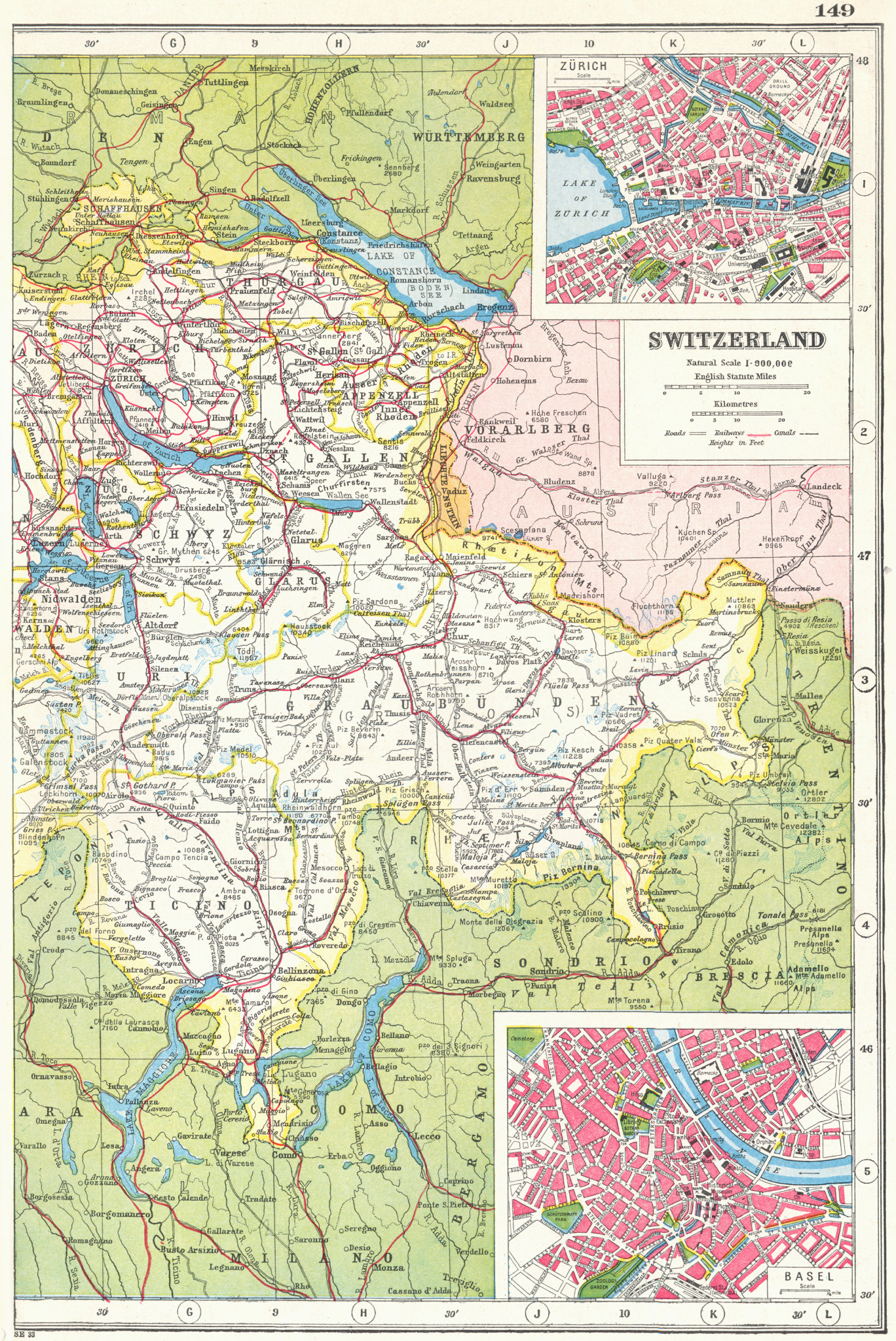Associate Product SWITZERLAND EAST. inset plans of Zurich & Basel Basle. HARMSWORTH 1920 old map