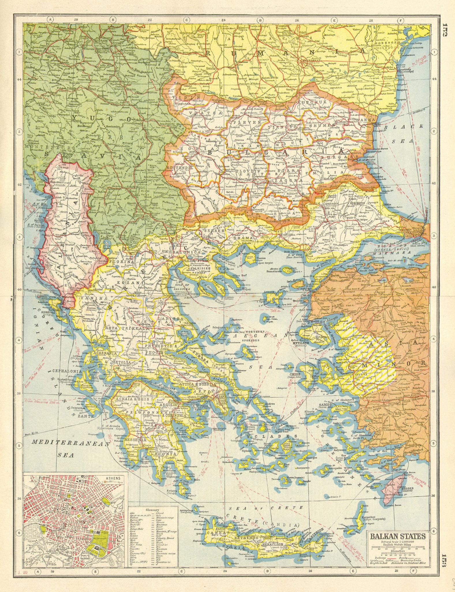 Associate Product BALKANS GREECE.  Bulgaria Albania Yugoslavia; Inset Athens. HARMSWORTH 1920 map