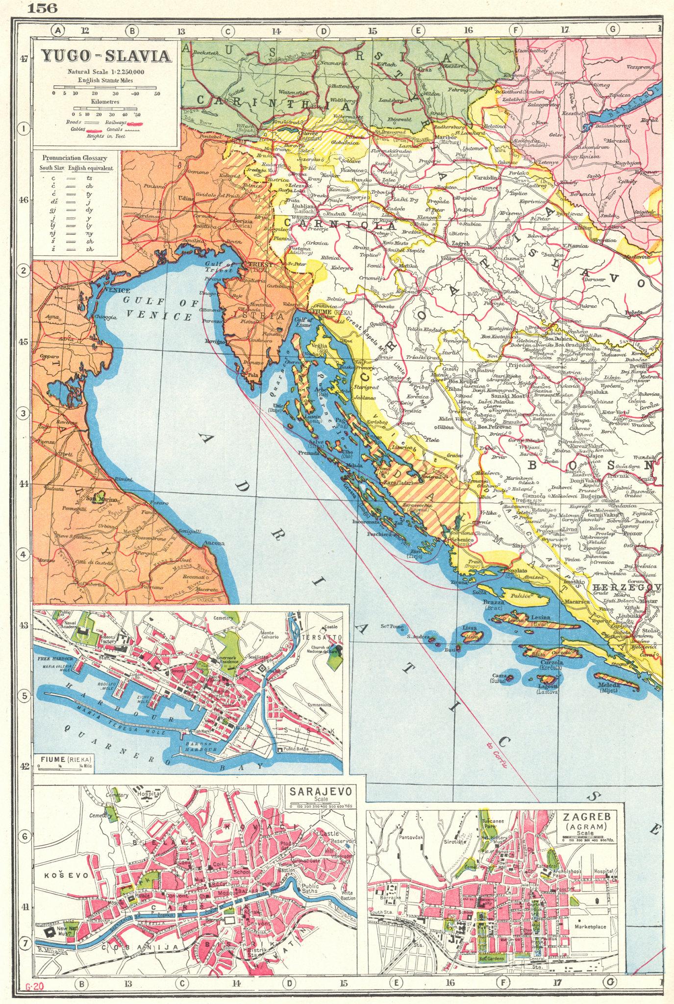 Associate Product YUGOSLAVIA WEST. Croatia Slovenia Bosnia; Inset Rijeka Sarajevo Zagreb 1920 map