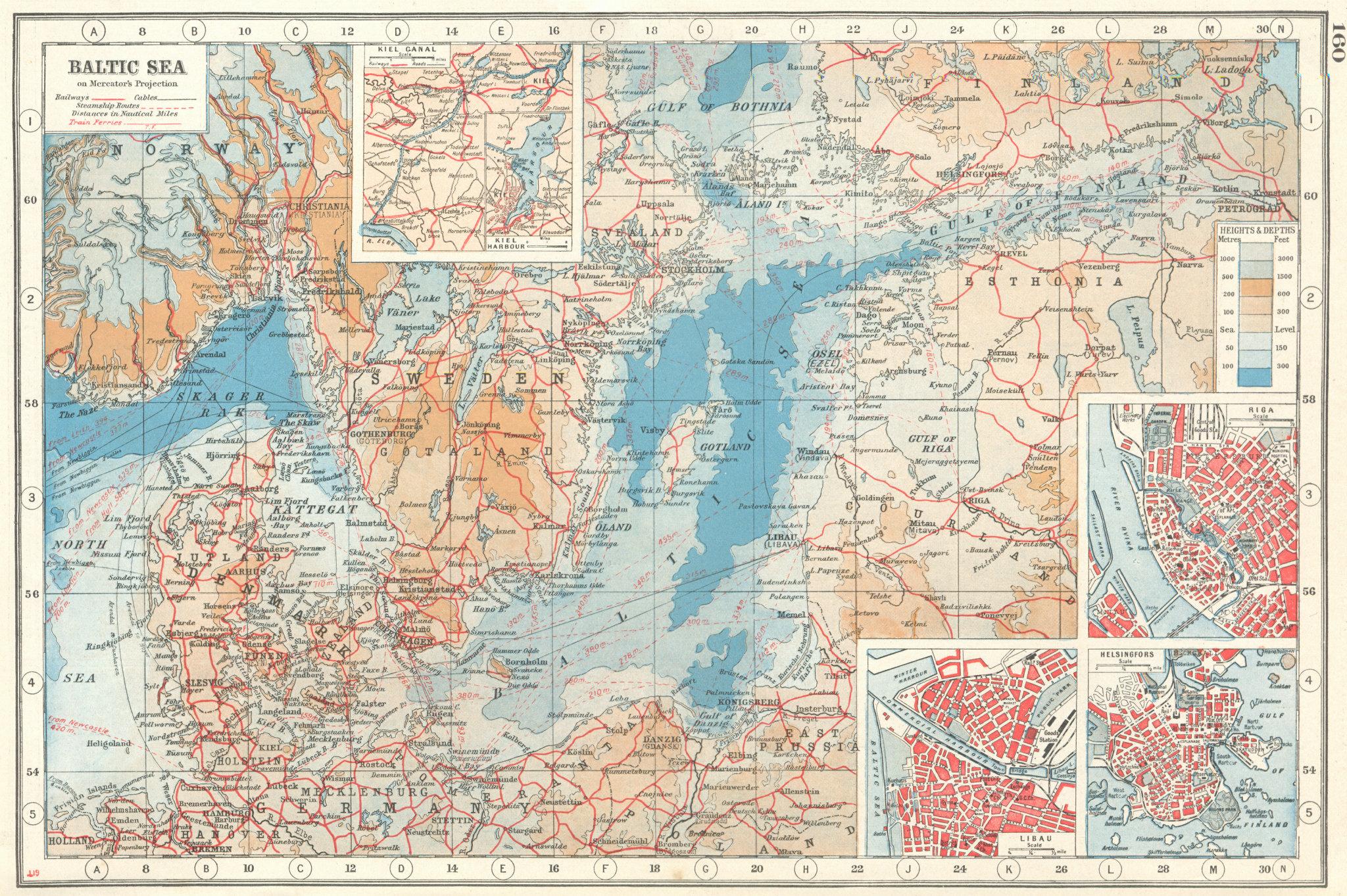 Associate Product BALTIC SEA. inset Kiel Canal; Riga; Libau (Liepaja); Helsinki 1920 old map