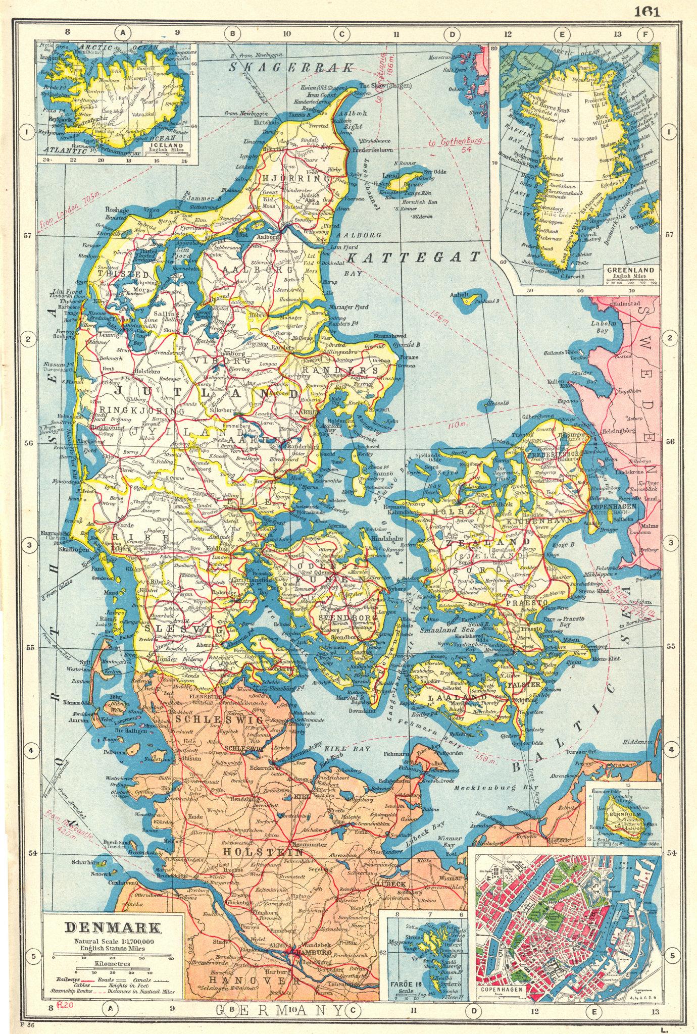 Associate Product DENMARK. inset Iceland Greenland Faroe islands Copenhagen Bornholm 1920 map
