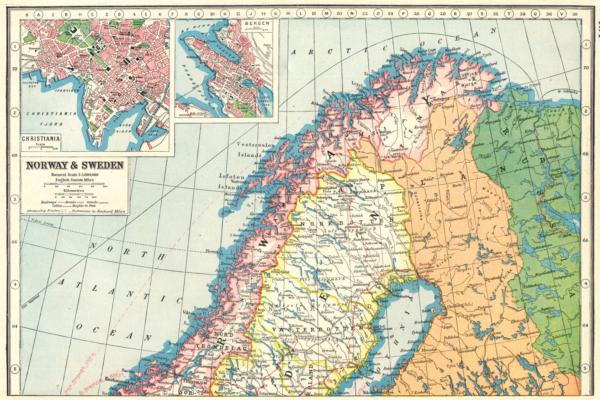 Associate Product SCANDINAVIA NORTH. Norway & Sweden;inset Oslo Christiania;Bergen 1920 old map