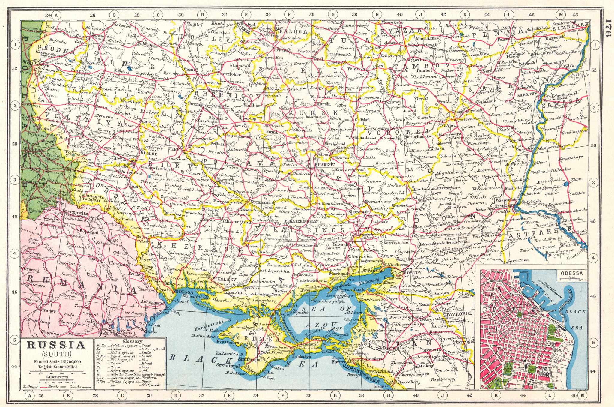 Associate Product UKRAINE. Russia South; inset Odessa. HARMSWORTH 1920 old antique map chart