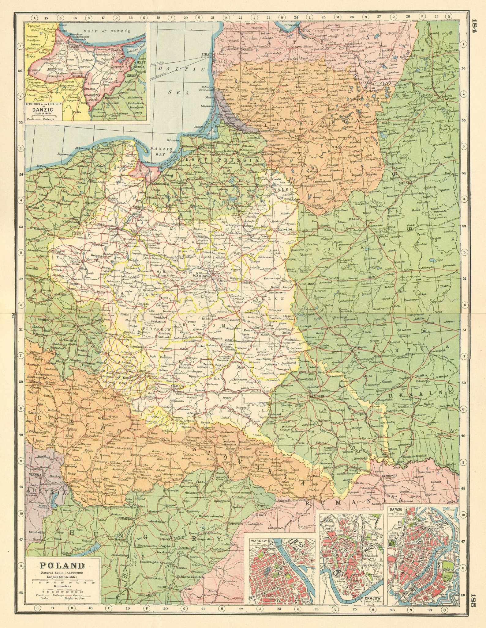 Associate Product POLAND. inset plans of Danzig Gdansk Warsaw Kraków Cracow.East Prussia 1920 map