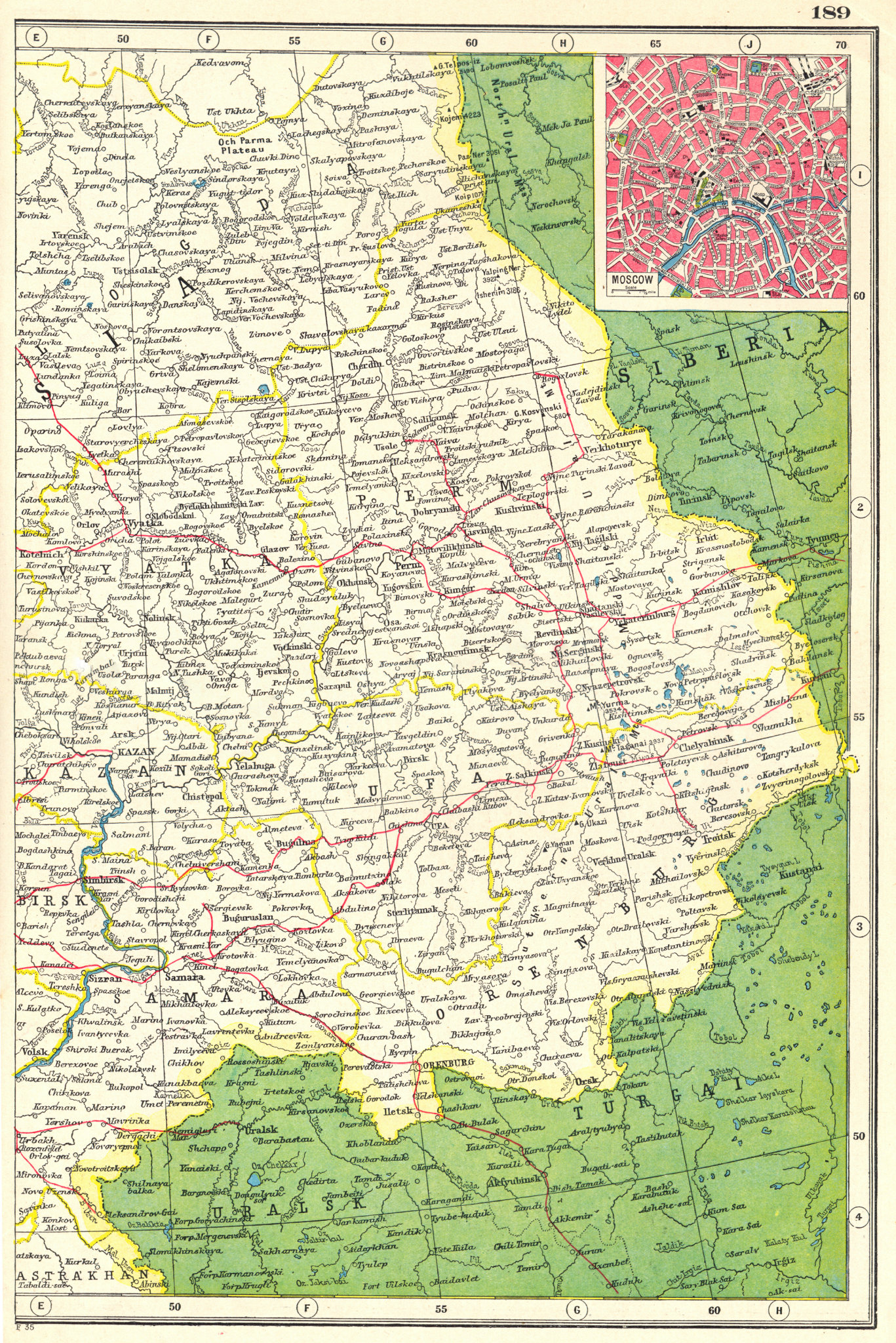 Associate Product EUROPEAN RUSSIA EAST. Railways. Inset plan of Moscow. HARMSWORTH 1920 old map