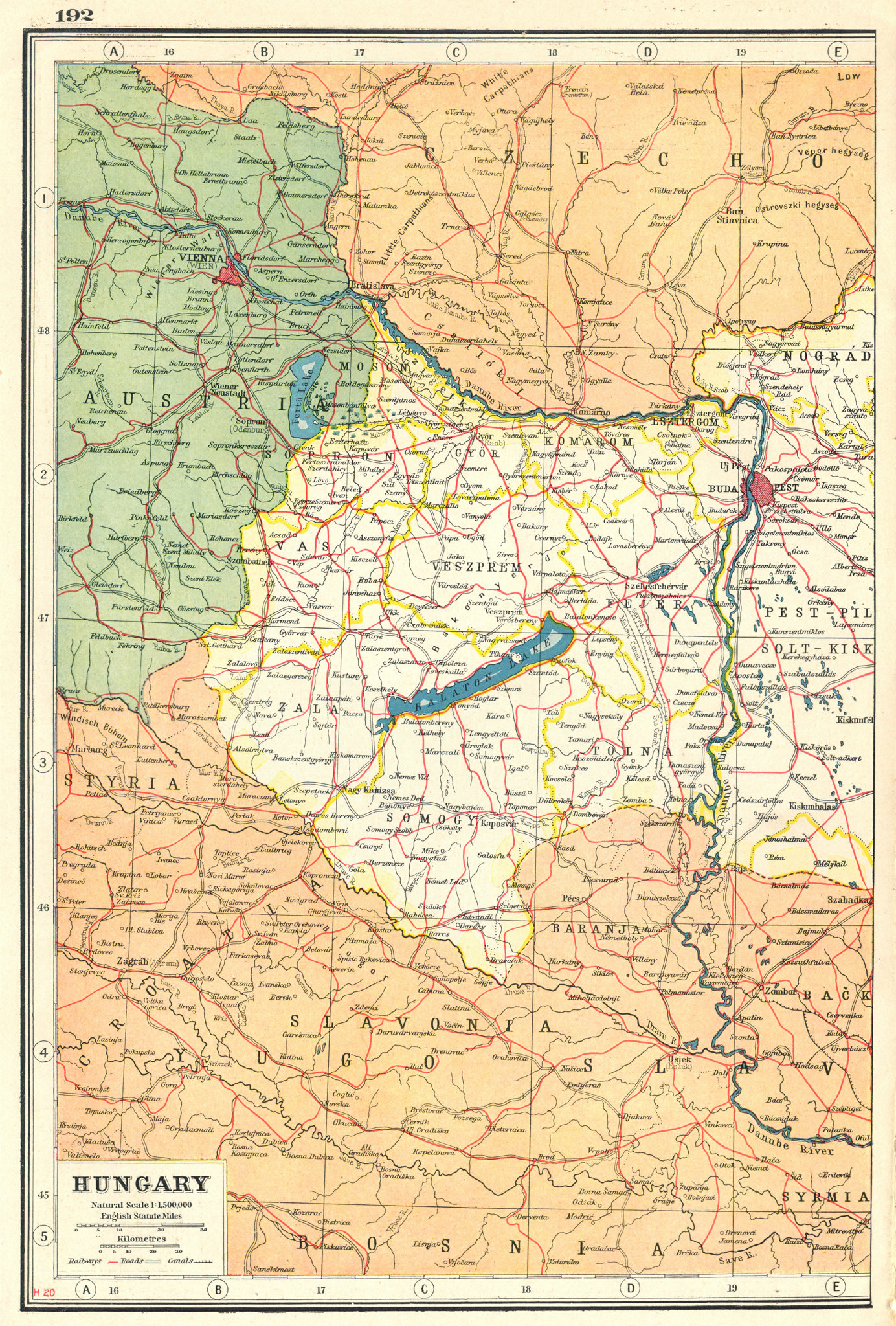 Associate Product HUNGARY WEST. Danube Budapest Vienna. Railways Sarvis Sio Malom canals 1920 map