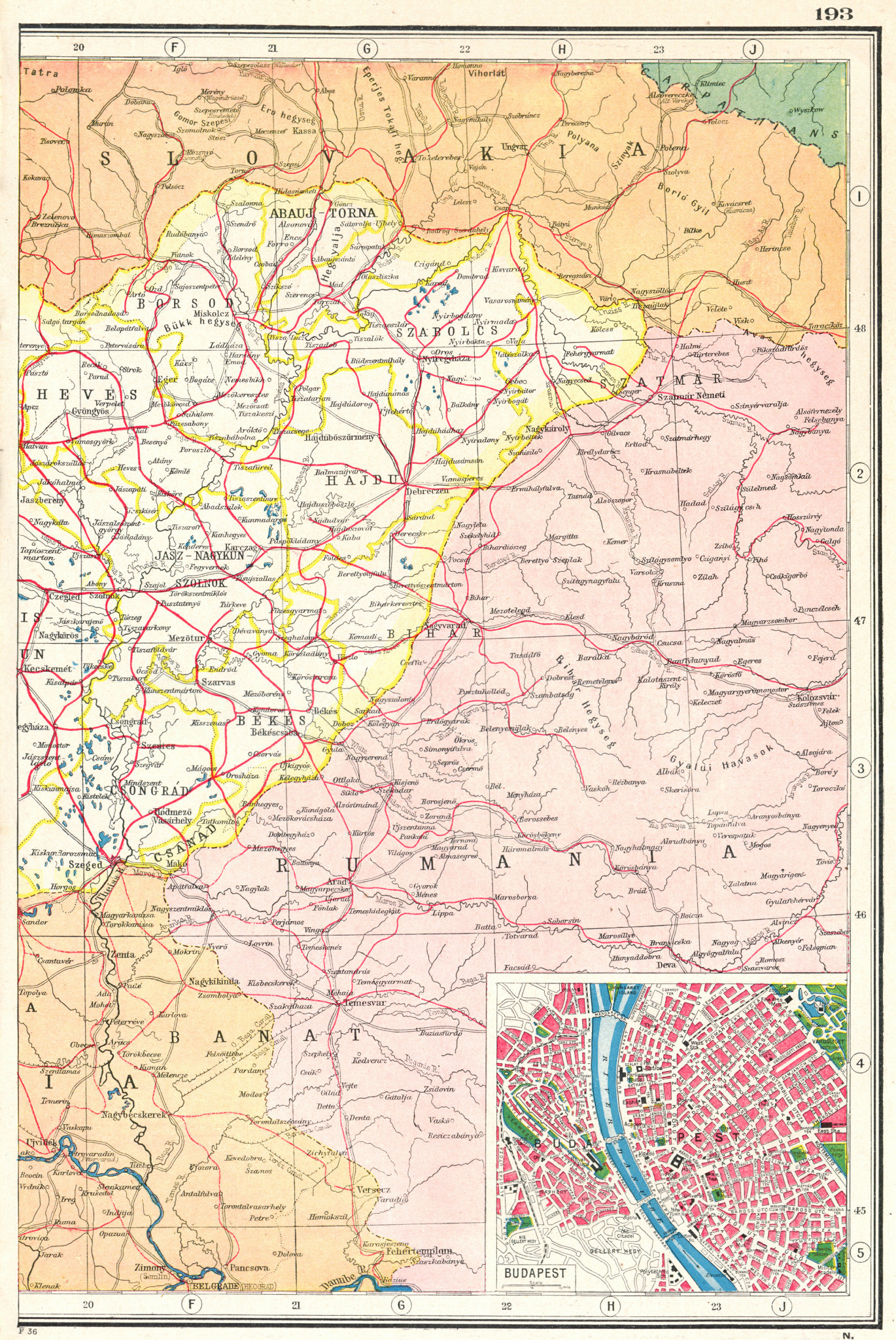 Associate Product HUNGARY EAST. Railways. Inset Budapest plan. HARMSWORTH 1920 old antique map