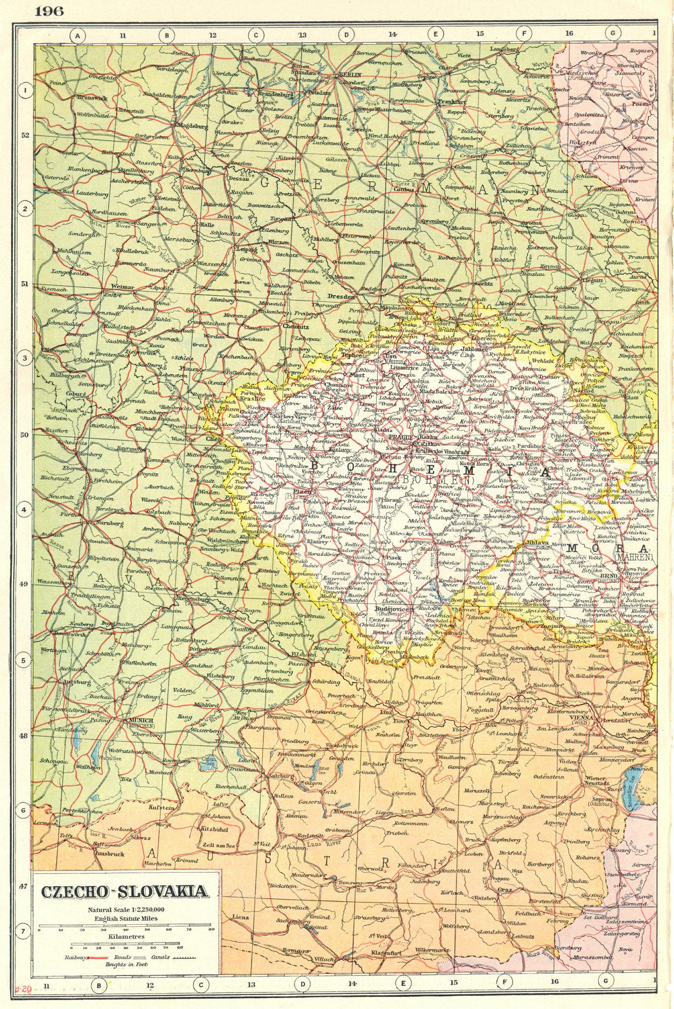 Associate Product BOHEMIA. Czech republic. Czechoslovakia west. Railways. HARMSWORTH 1920 map