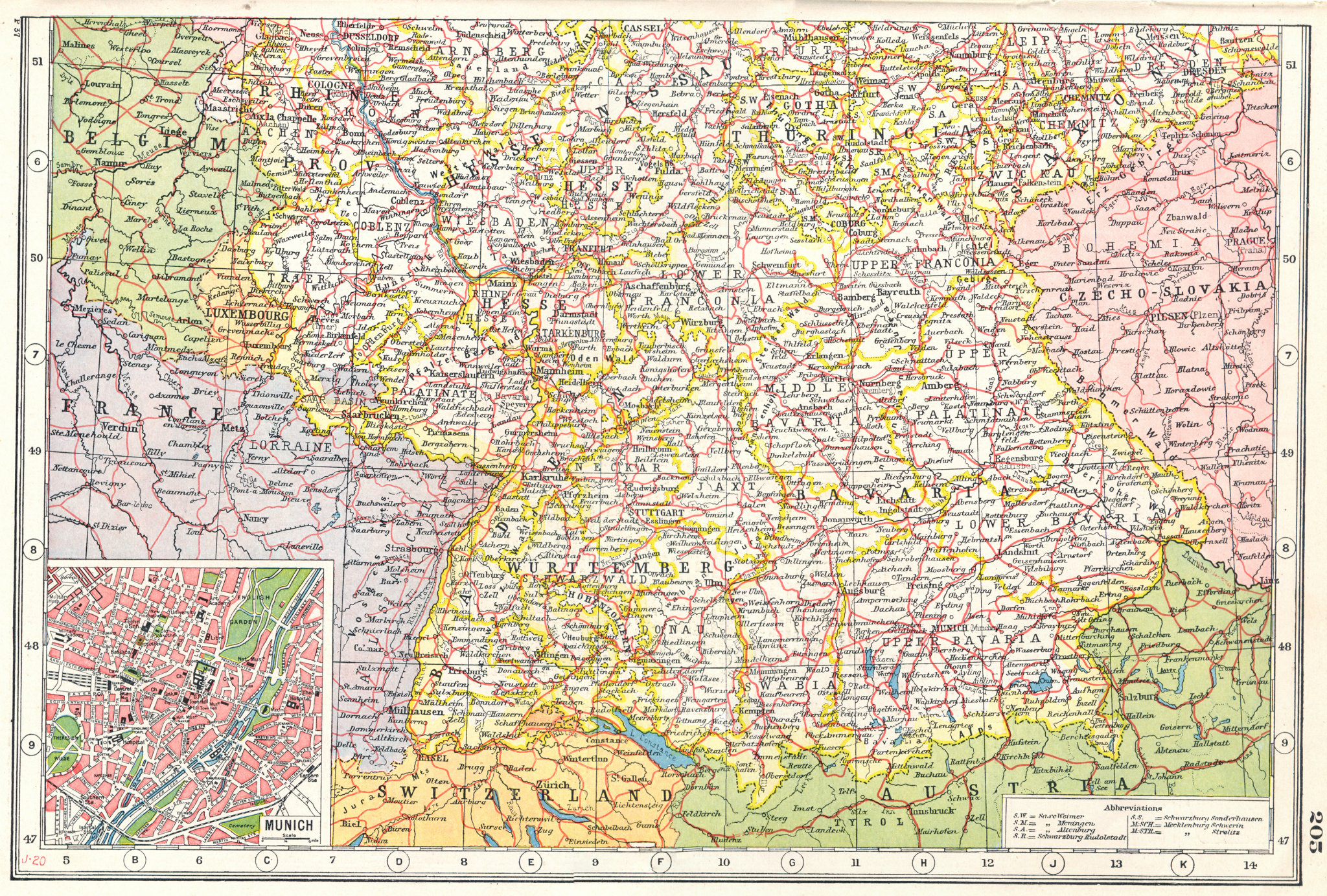 Associate Product GERMANY SOUTH. Bavaria Wurttemberg Hesse Thuringia. Inset Munich plan 1920 map