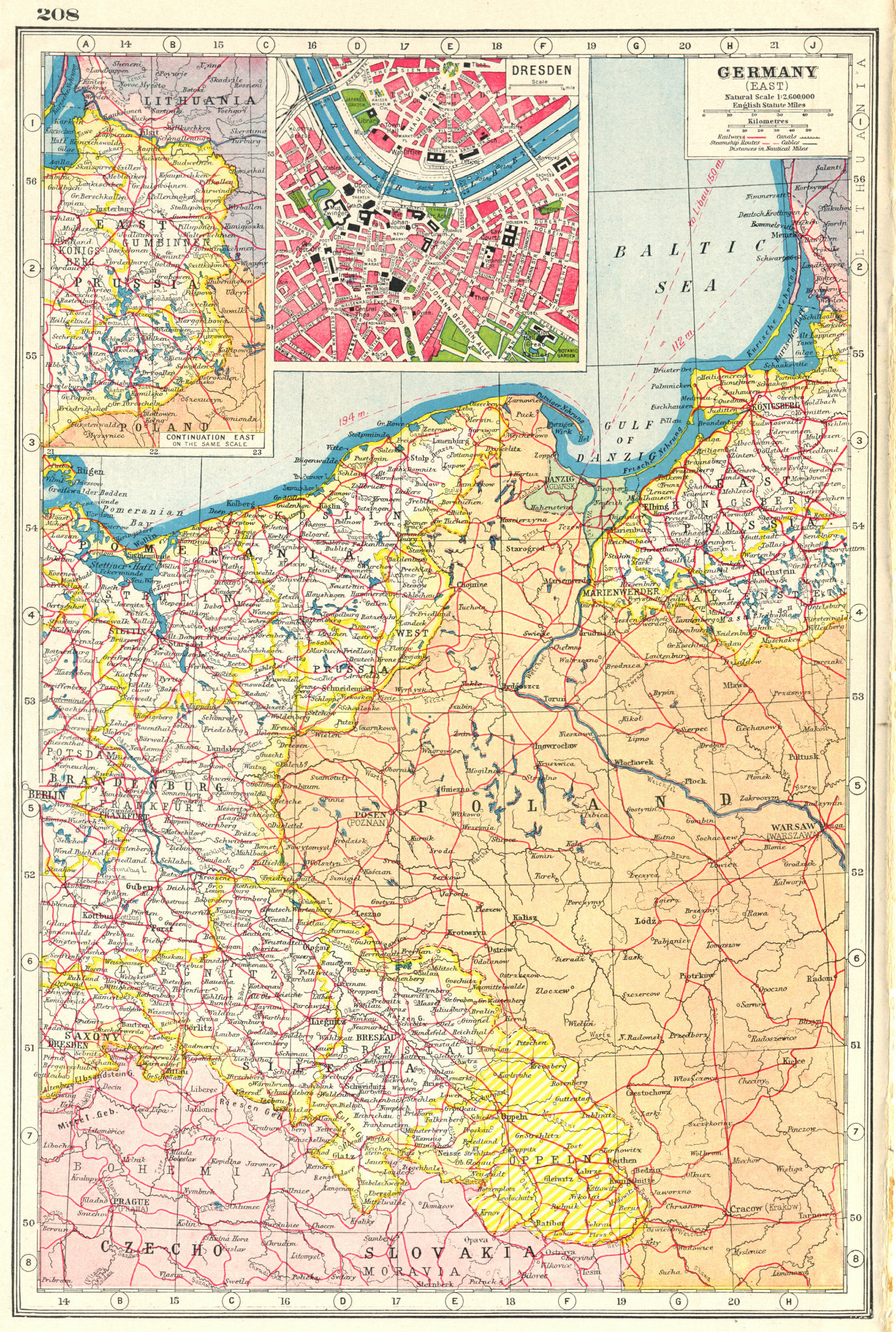Associate Product GERMANY EAST. Prussia Poland Silesia; inset Dresden. HARMSWORTH 1920 old map