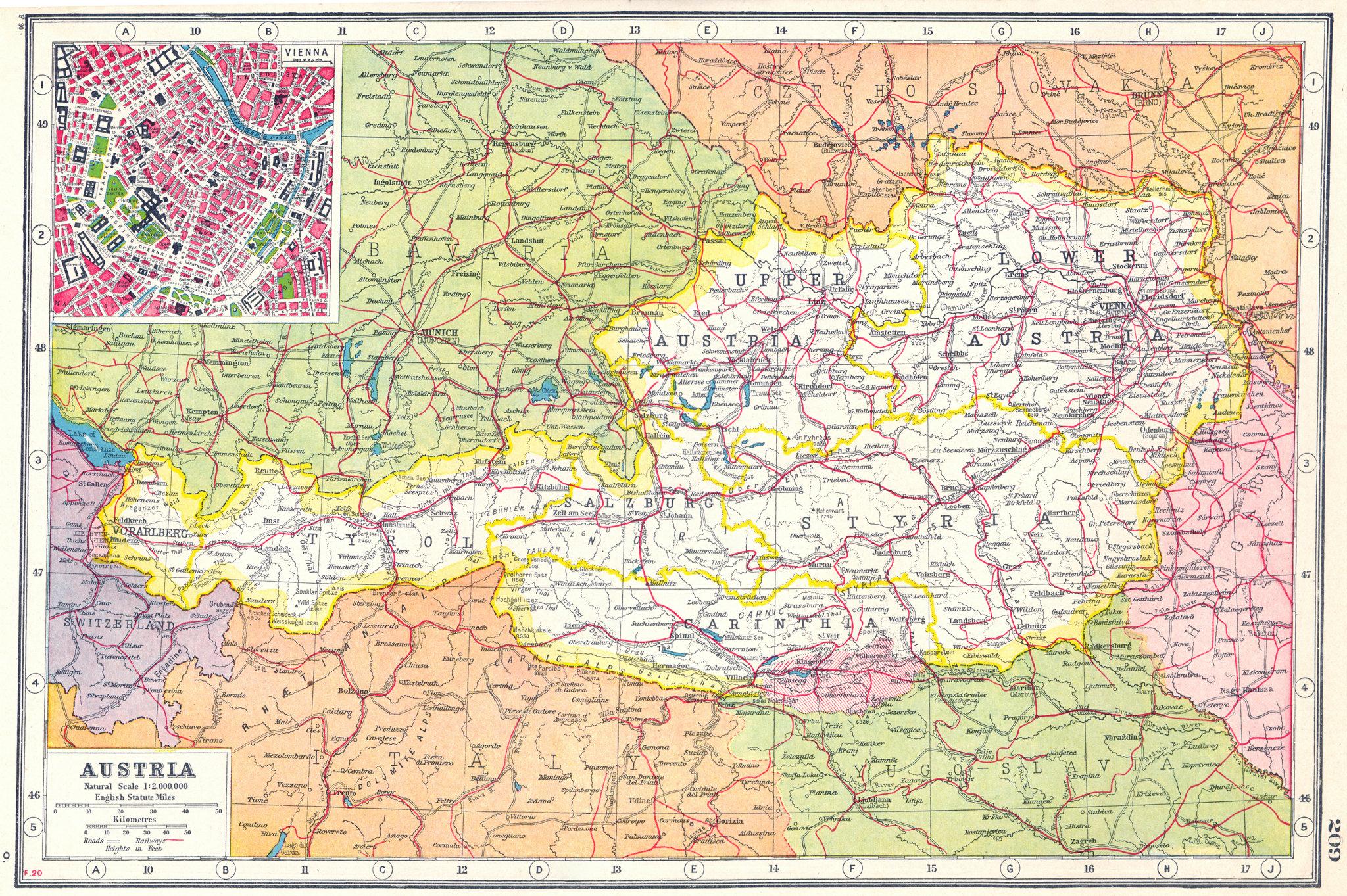 Associate Product AUSTRIA. Tyrol Salzburg Styria Carinthia Vorarlberg. Inset Vienna plan 1920 map