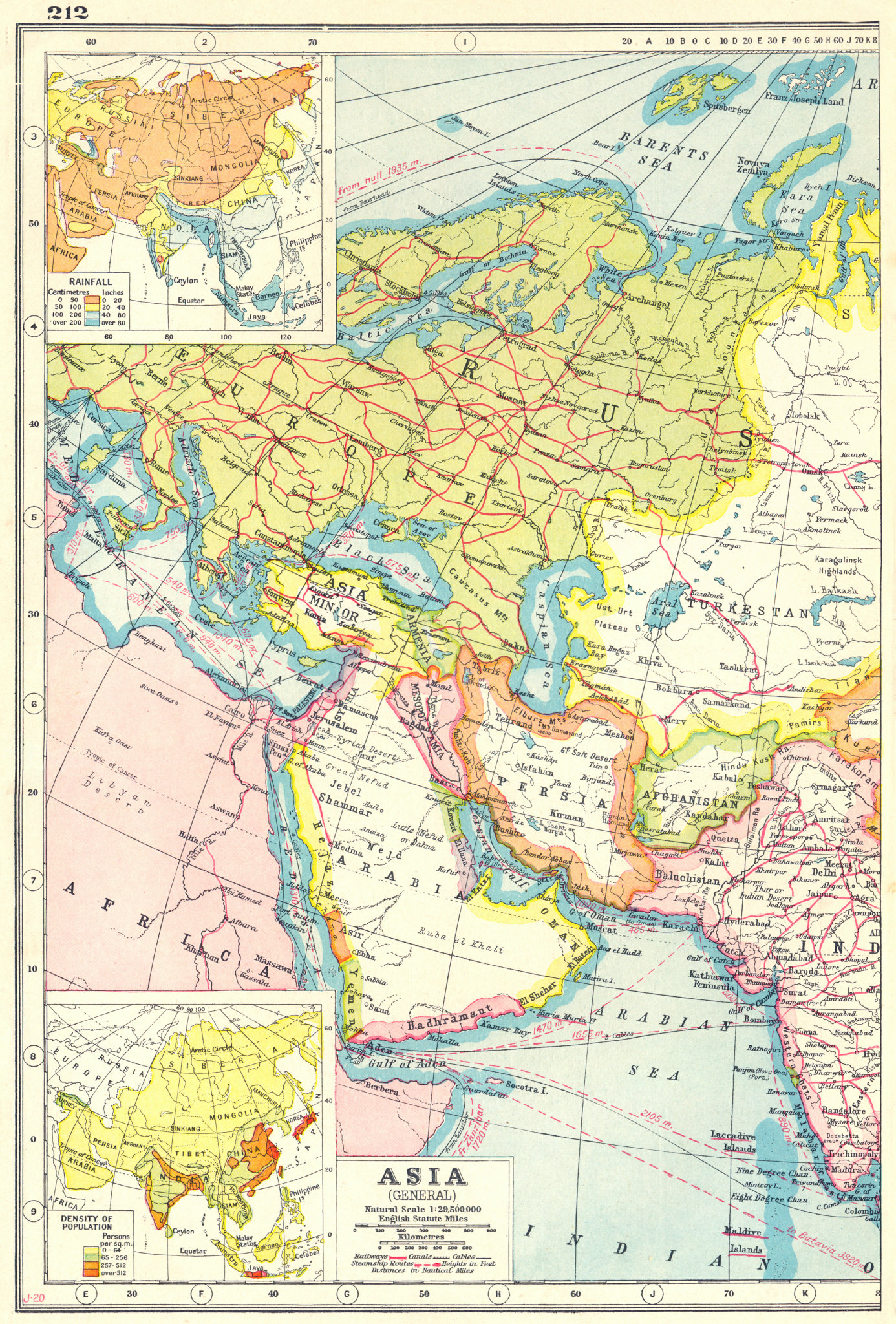 Associate Product WEST ASIA.Arabia Persia Mesopotamia Russia.Rainfall population density 1920 map
