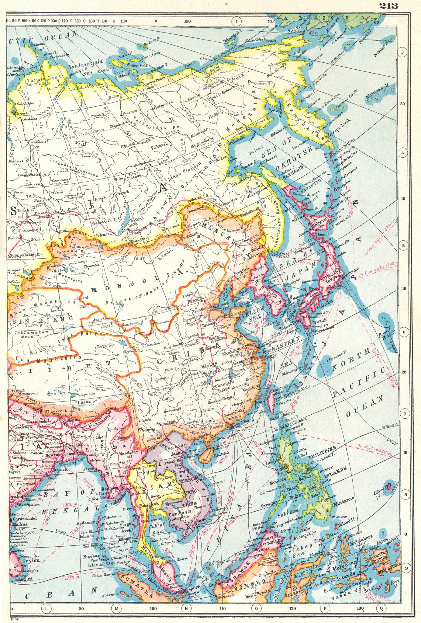 Associate Product EAST ASIA. China Philippines Japan Korea Siam French Indochina Malaya 1920 map