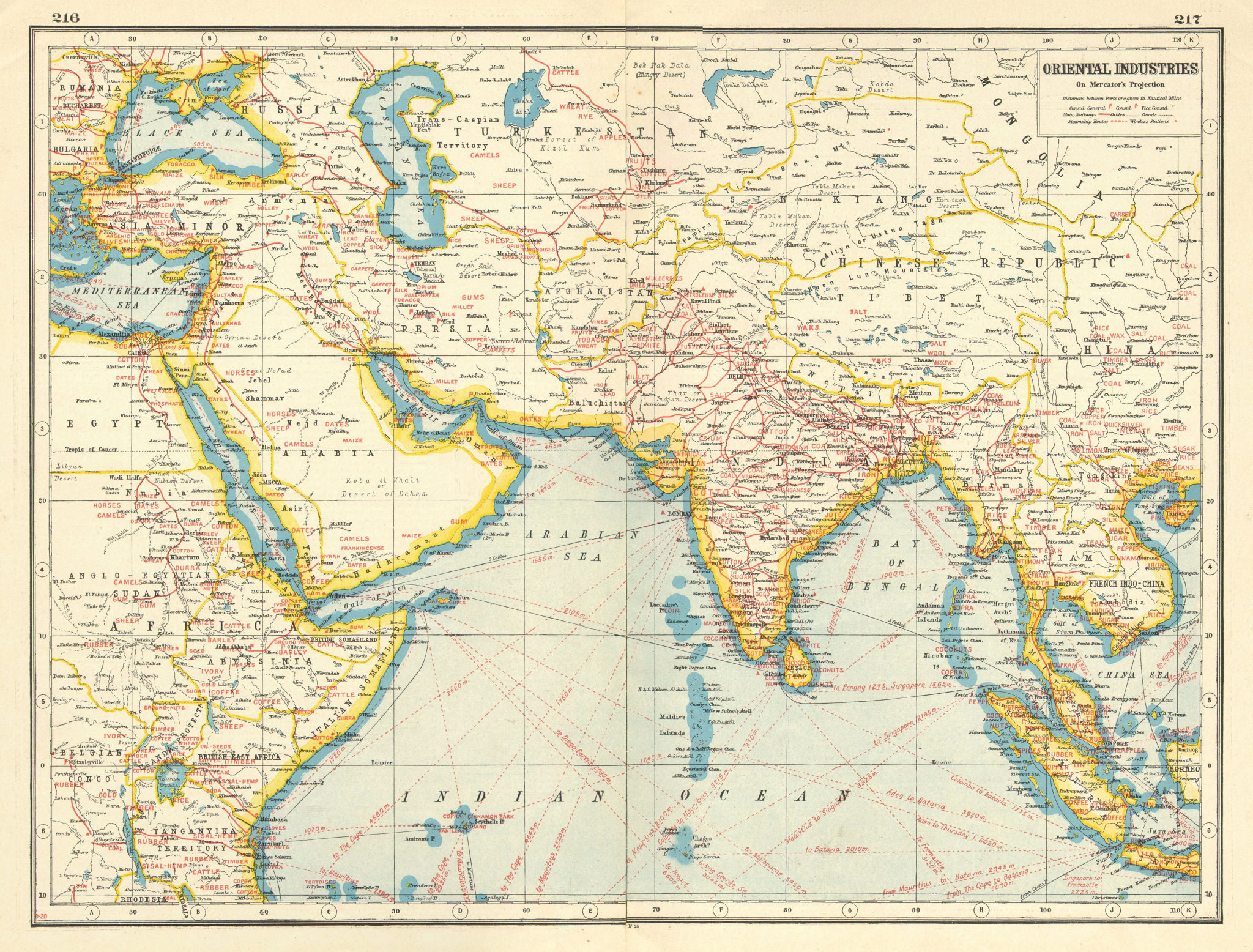 Associate Product ASIA MIDDLE EAST AFRICA COMMERCIAL.Shows agricultural/mineral products 1920 map